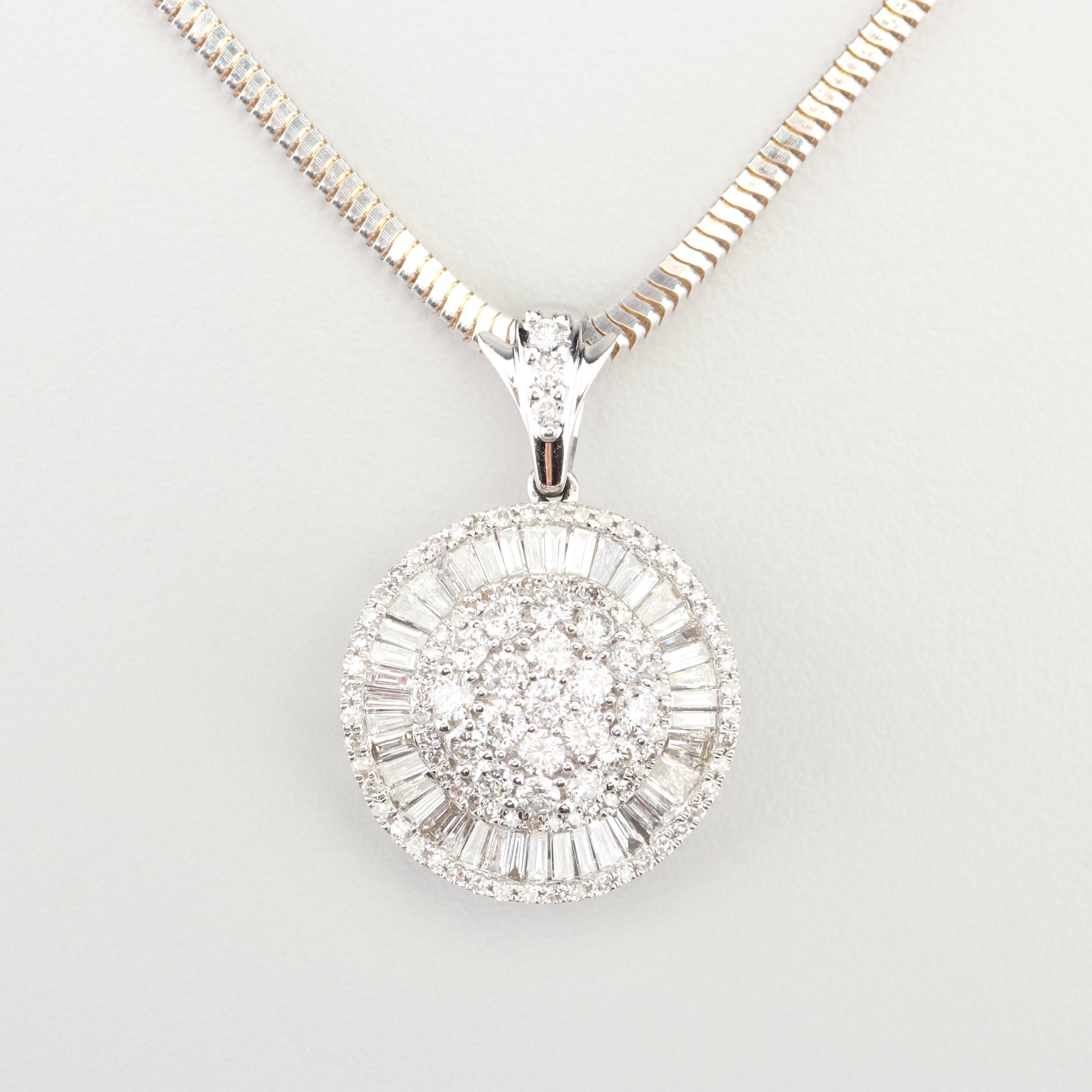 14K White Gold 1.95 CTW Diamond Cluster Pendant on a Sterling Silver Chain