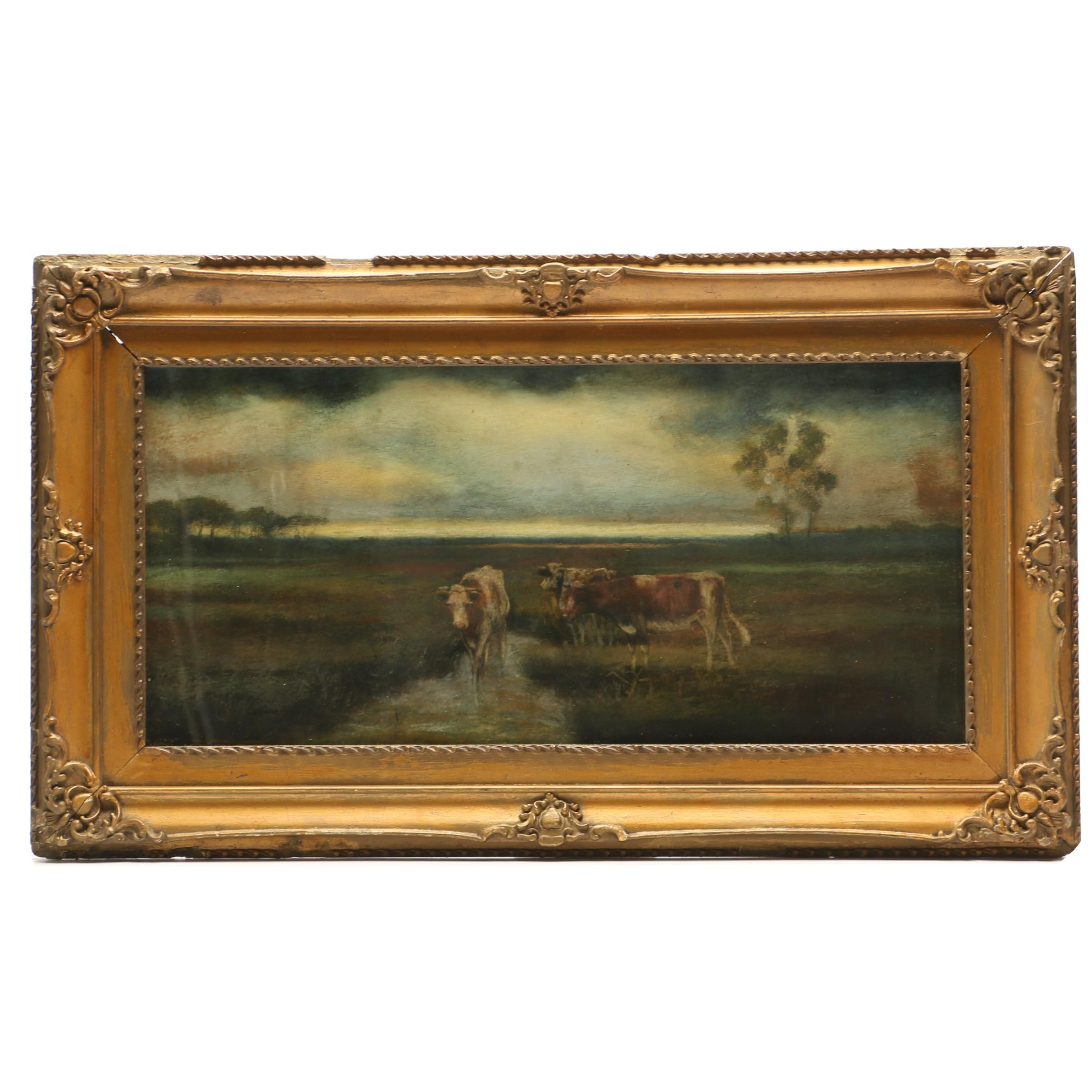 Pastel Drawing of Pastoral Scene with Cattle
