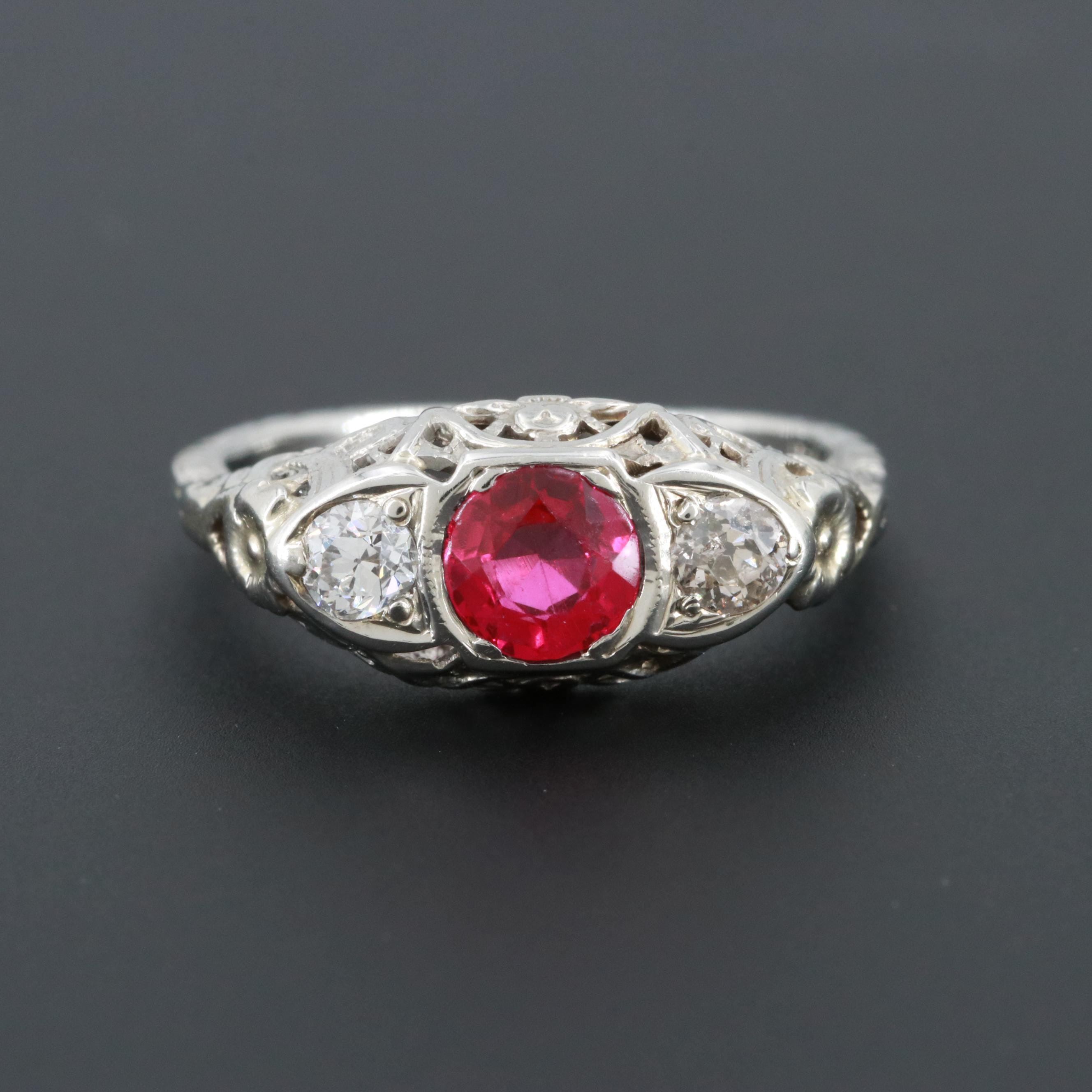 Vintage 18K White Gold Synthetic Ruby and Diamond Ring