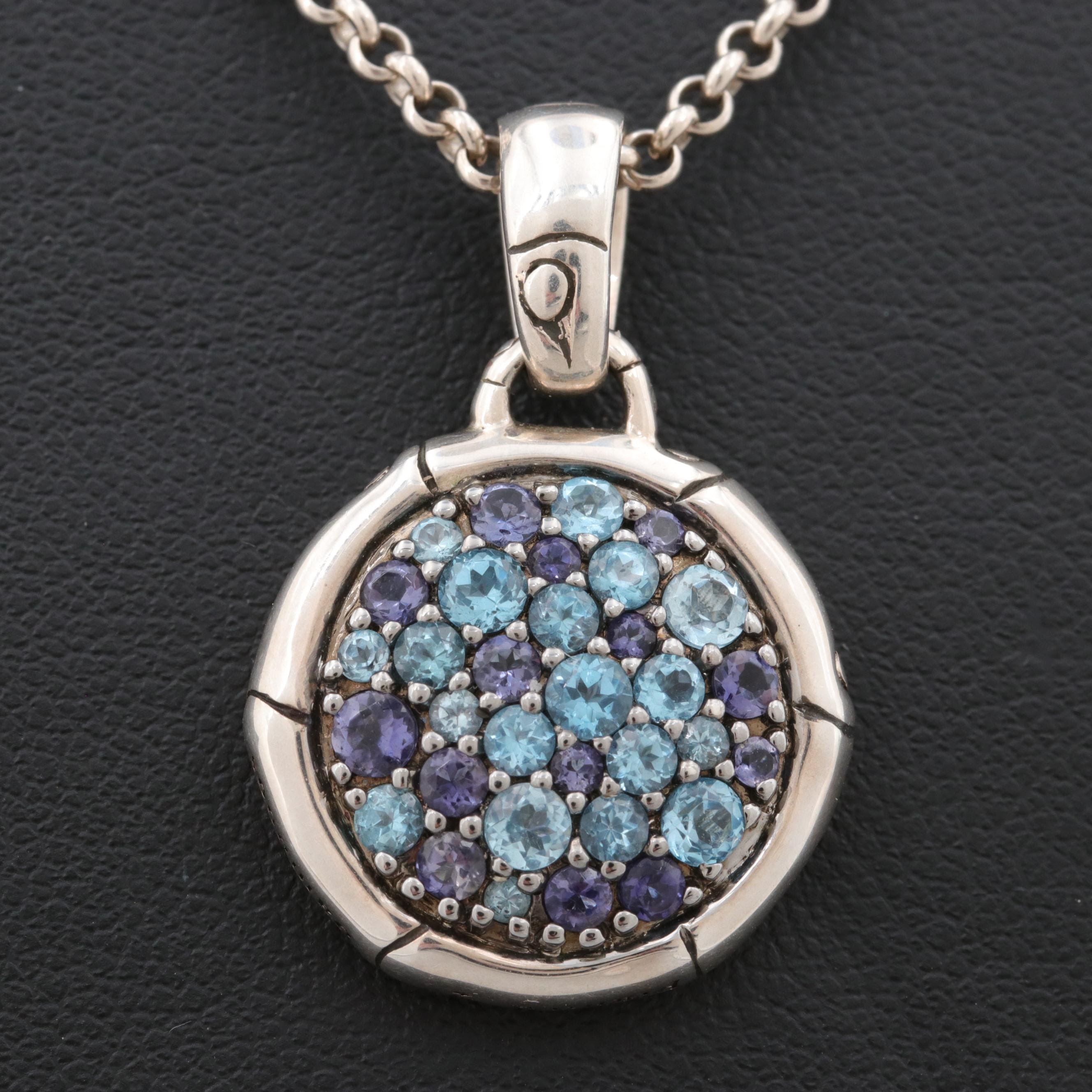 John Hardy Sterling Silver Blue Topaz and Iolite Pendant Necklace