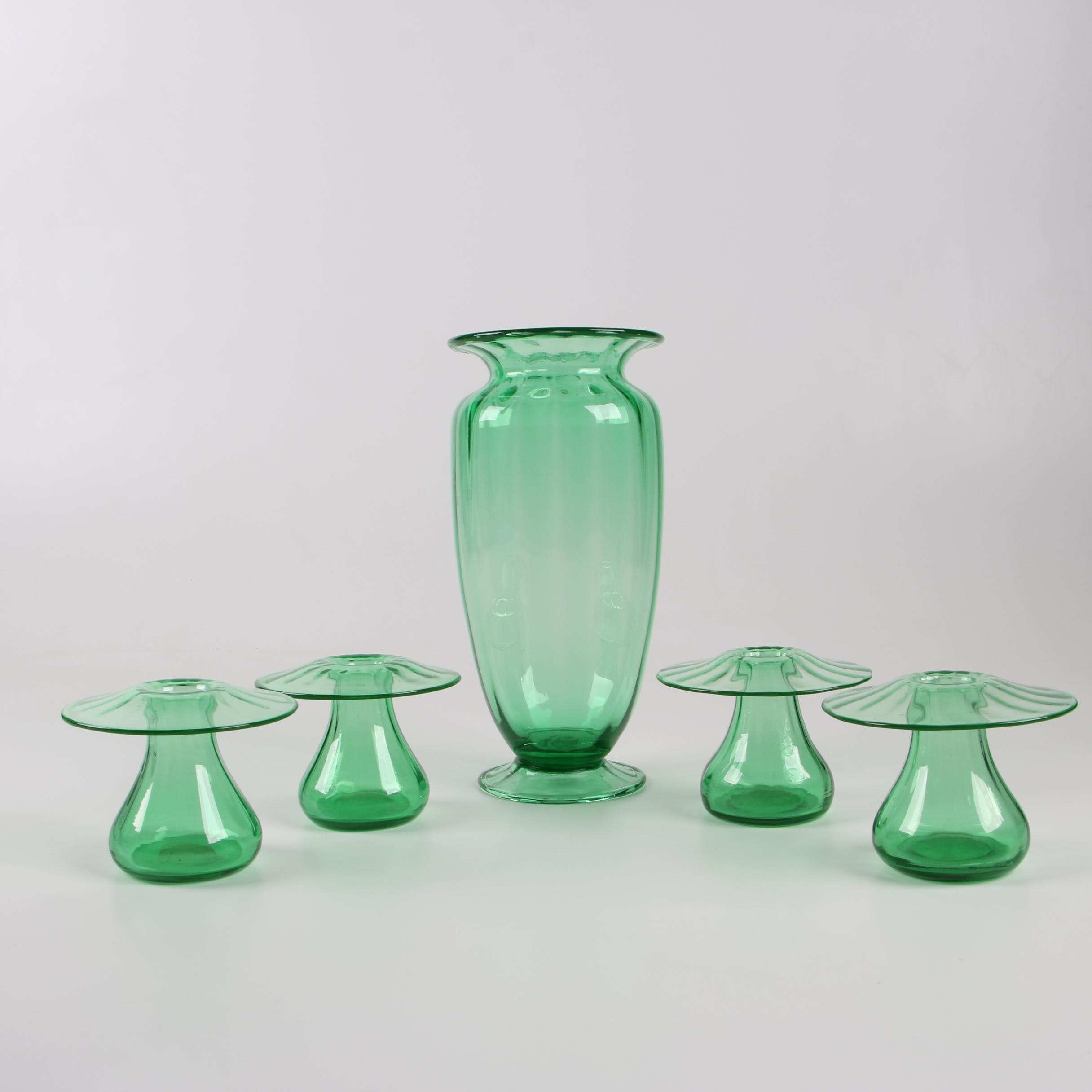 Steuben Pomona Green Art Glass Vases, Early 20th Century