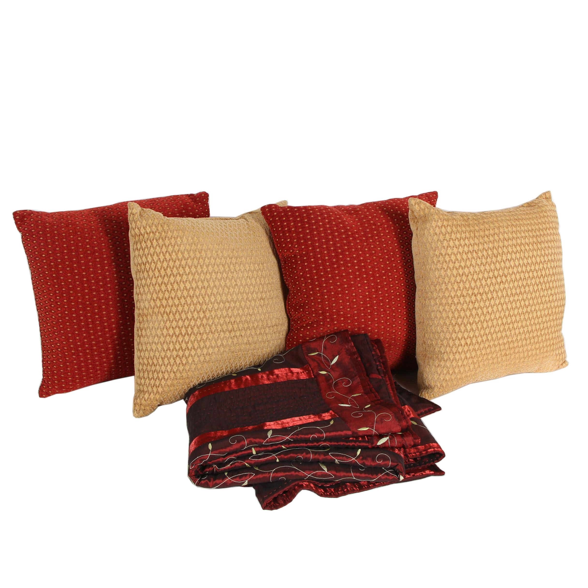Embroidered Quilted Throw with Pillows