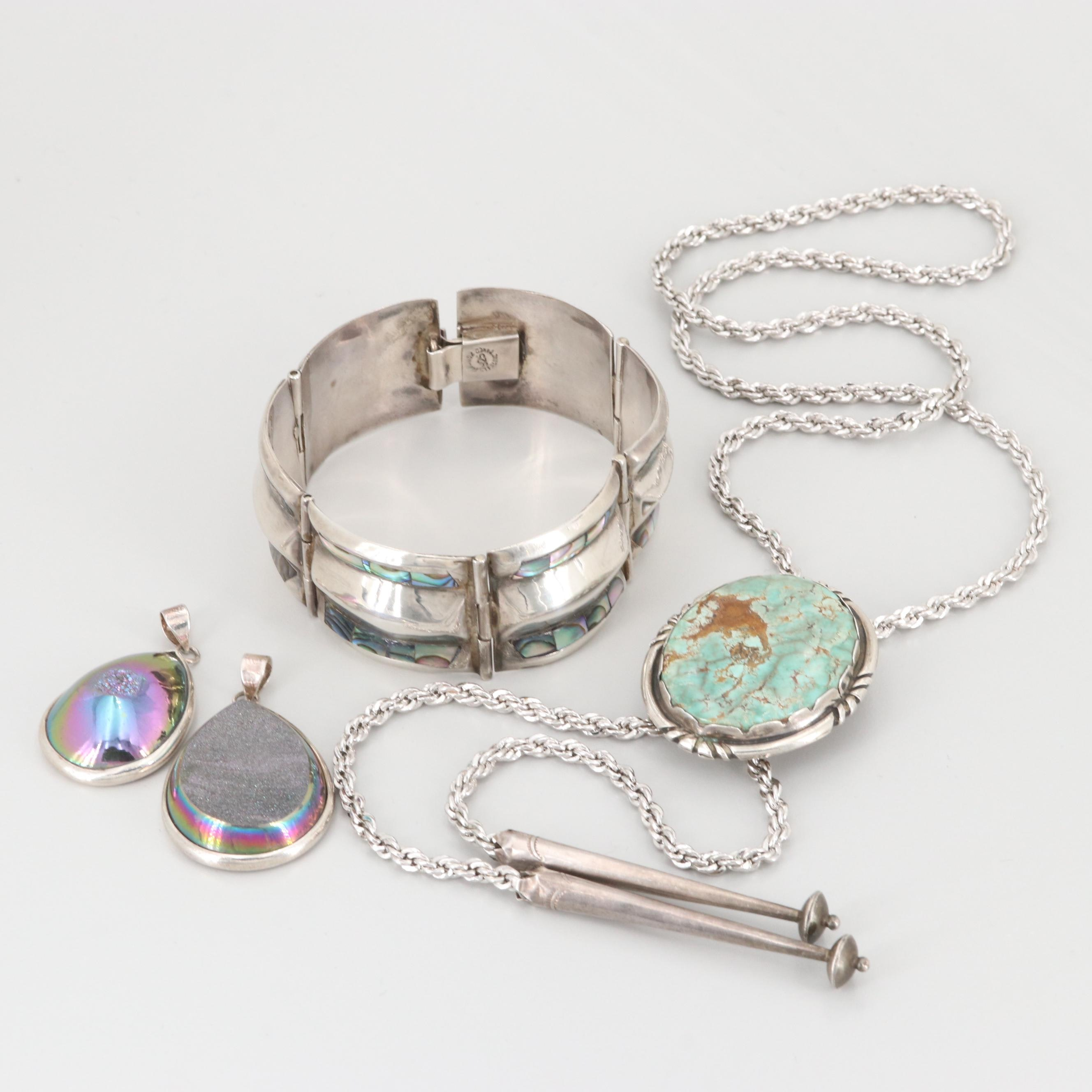 Assorted Sterling Silver Jewelry Including Turquoise, Abalone and Druzy