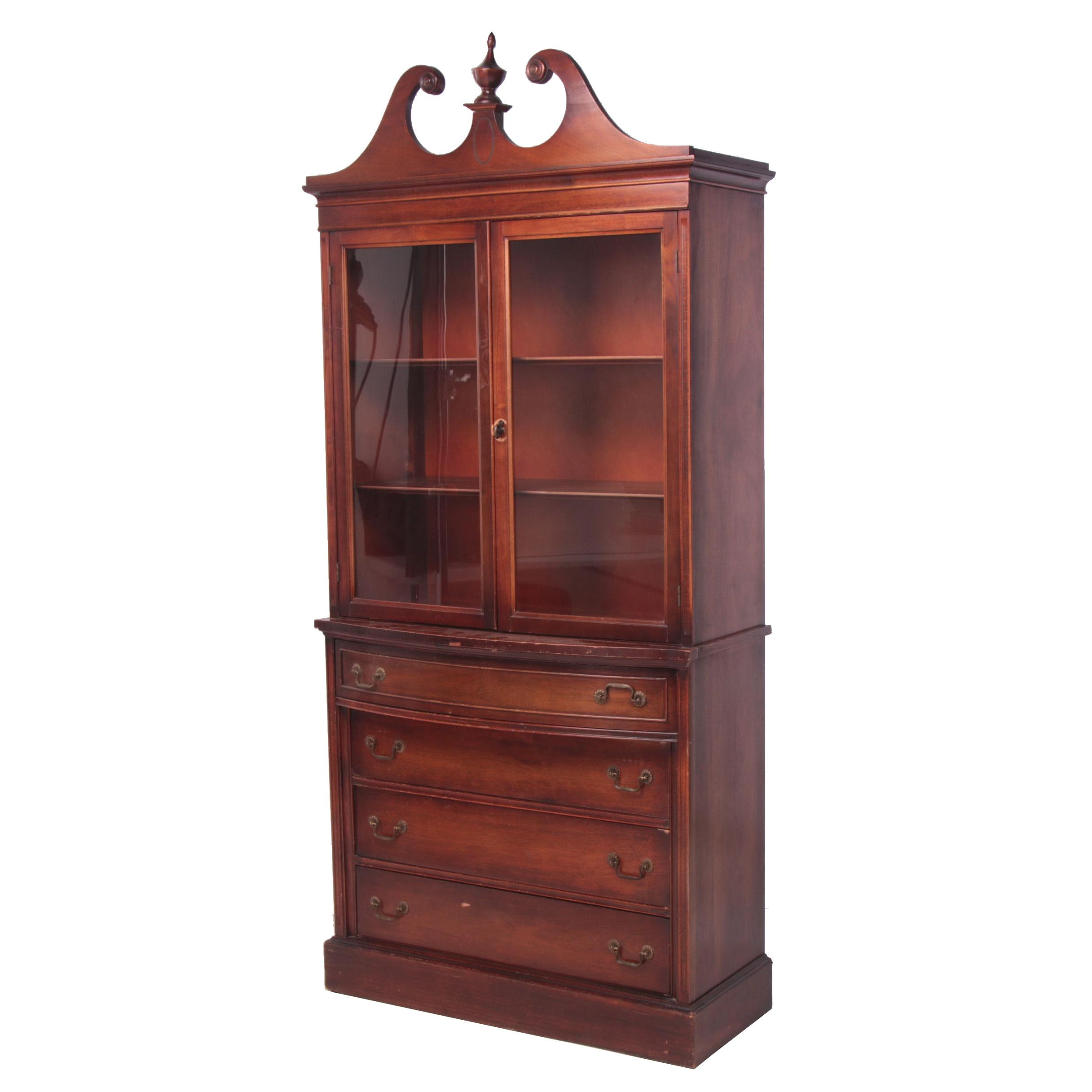 Federal Style Mahogany-Stained China Cabinet, Late 20th Century