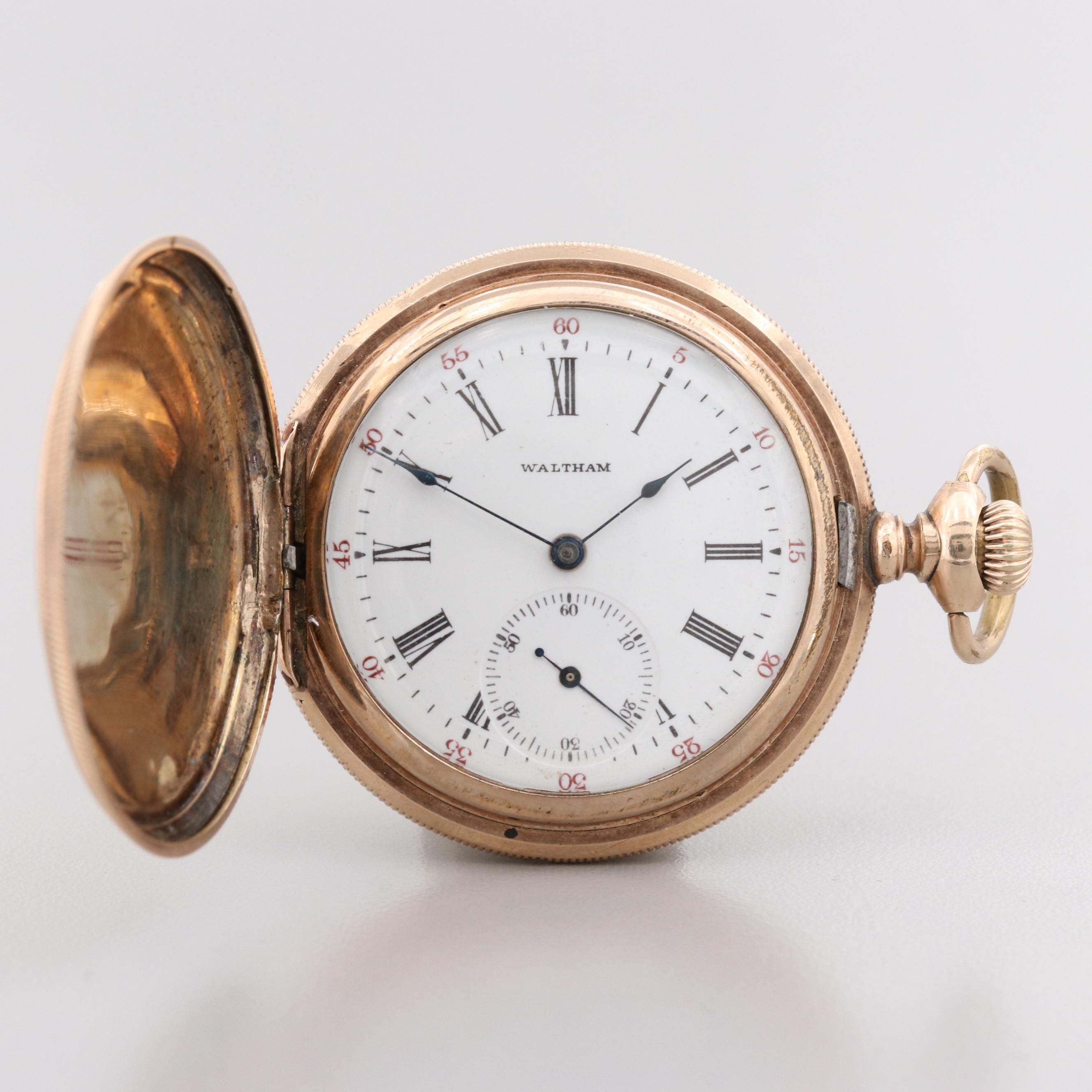 Antique Waltham 14K  Gold Filled Hunter Case Pocket Watch With Diamonds, 1900