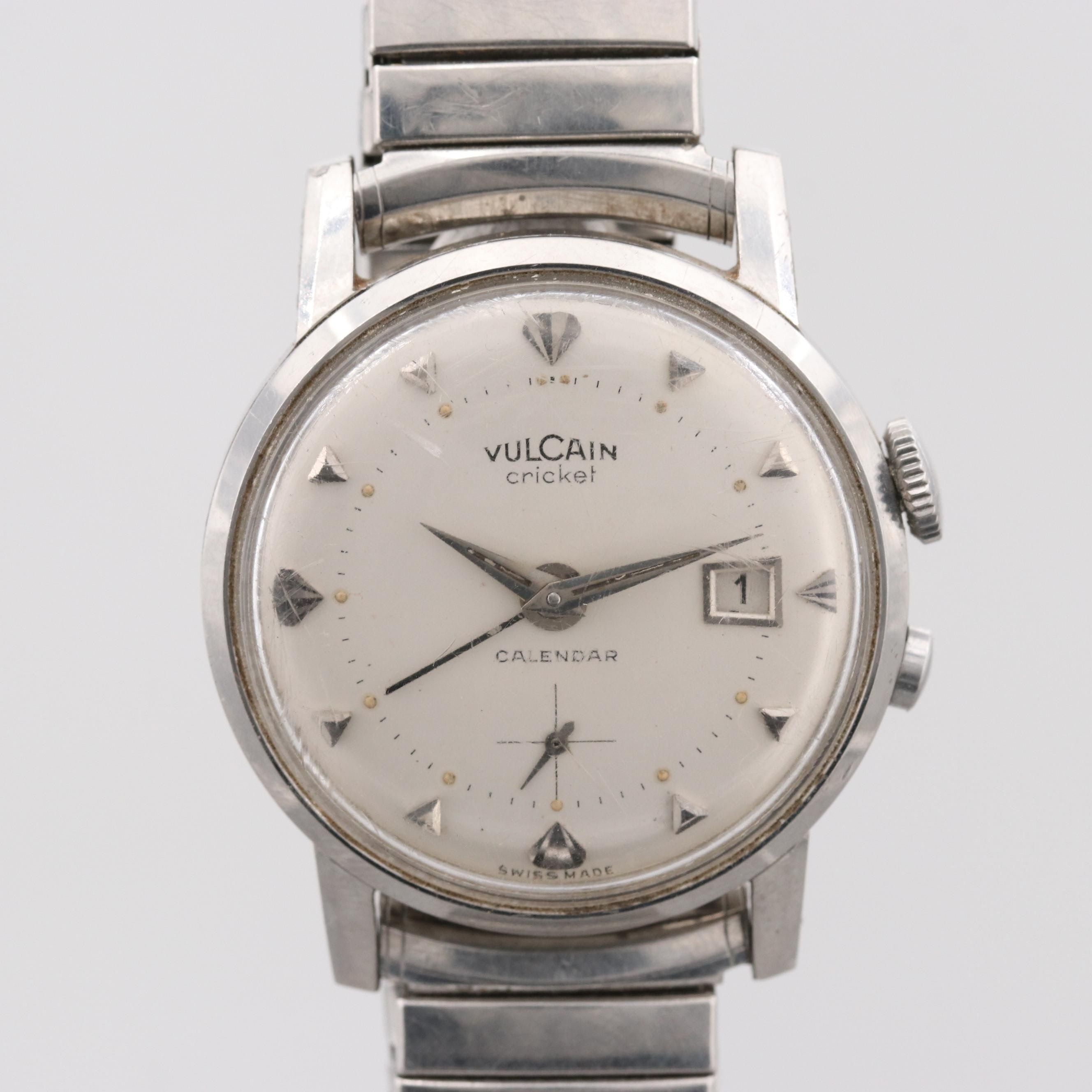 Vintage Vulcain Cricket Stainless Steel Stem Wind Wristwatch With Date