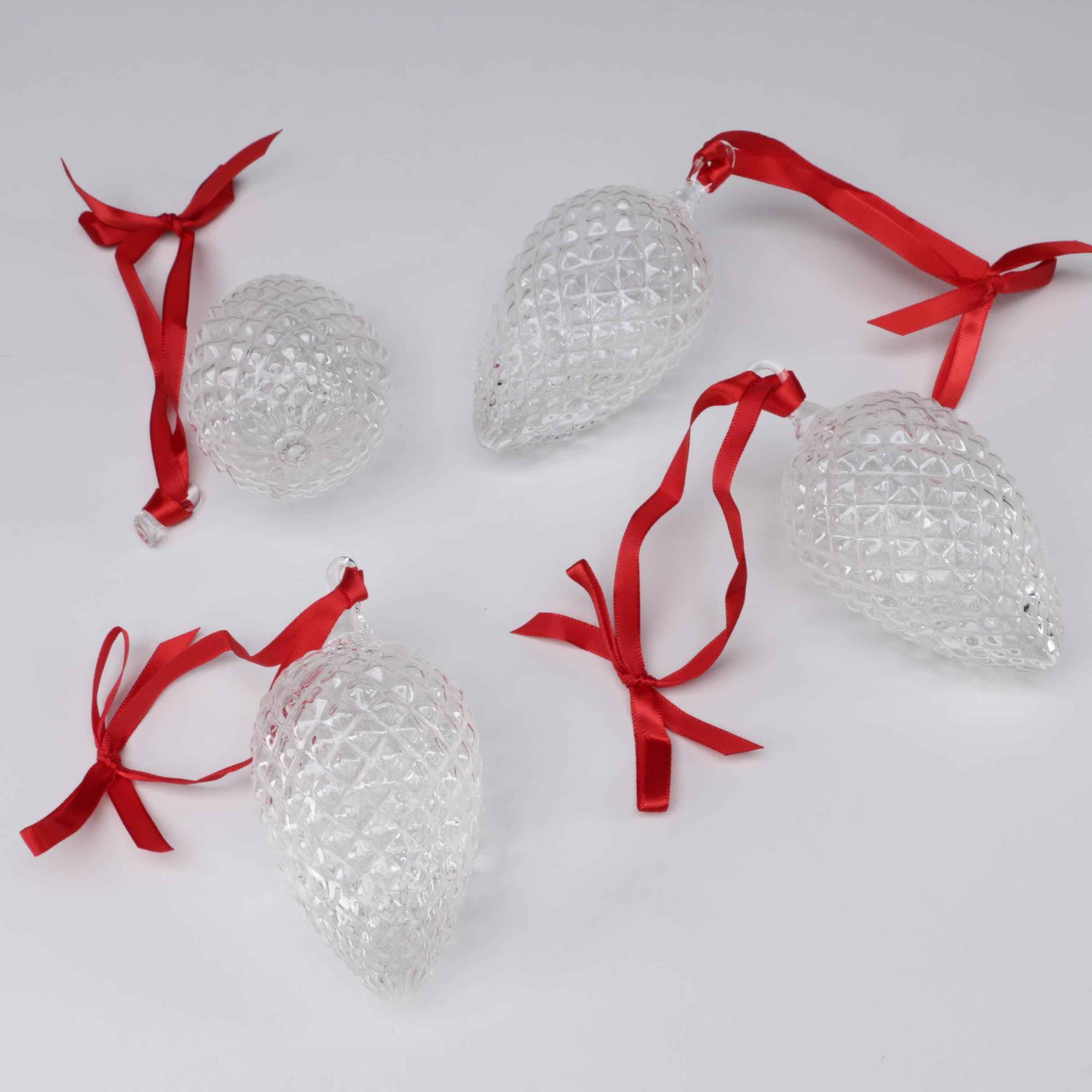 "Steuben Art Glass ""Pine Cone"" Christmas Ornaments"