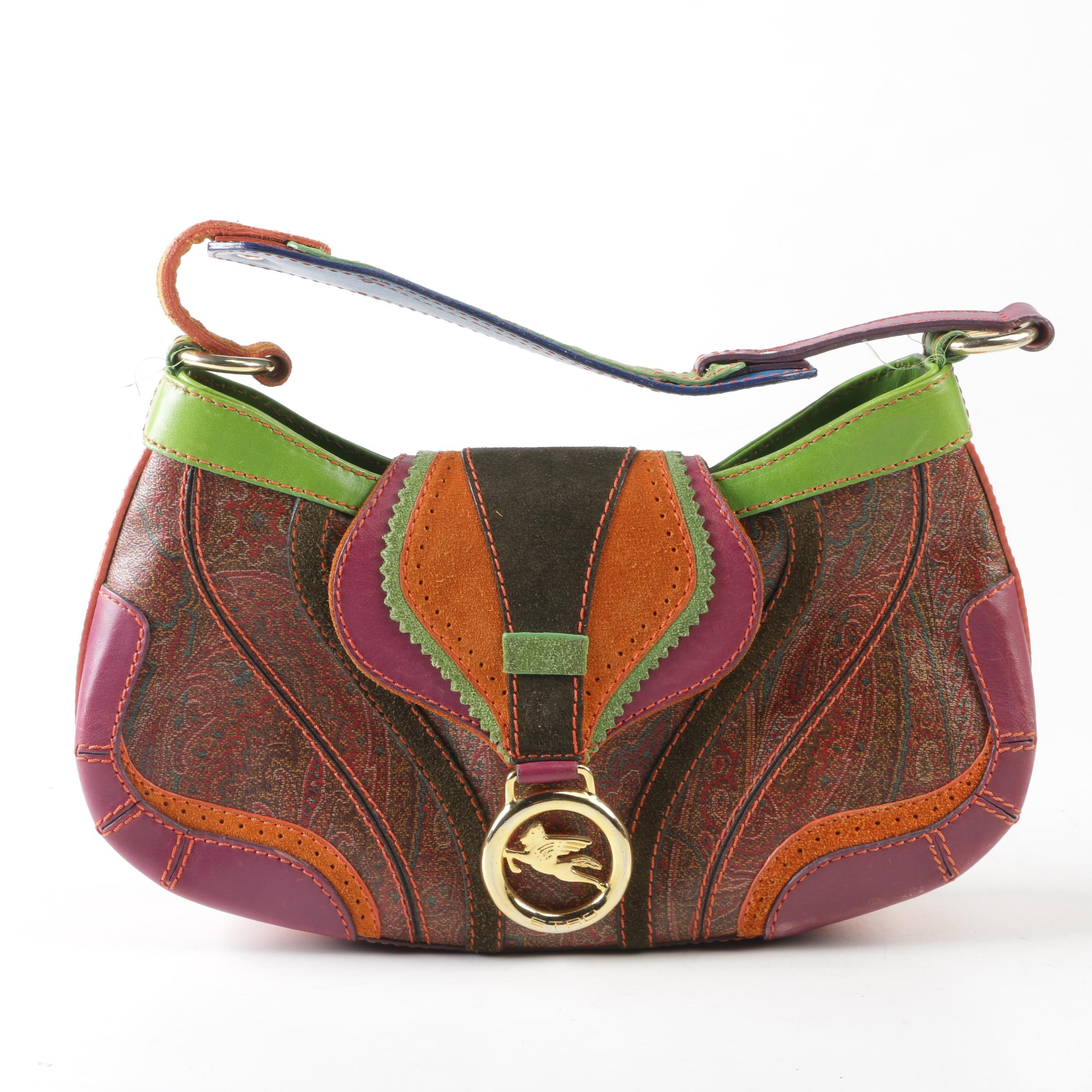 Etro Milano Paisley Print Coated Canvas and Multicolored Leather Handbag