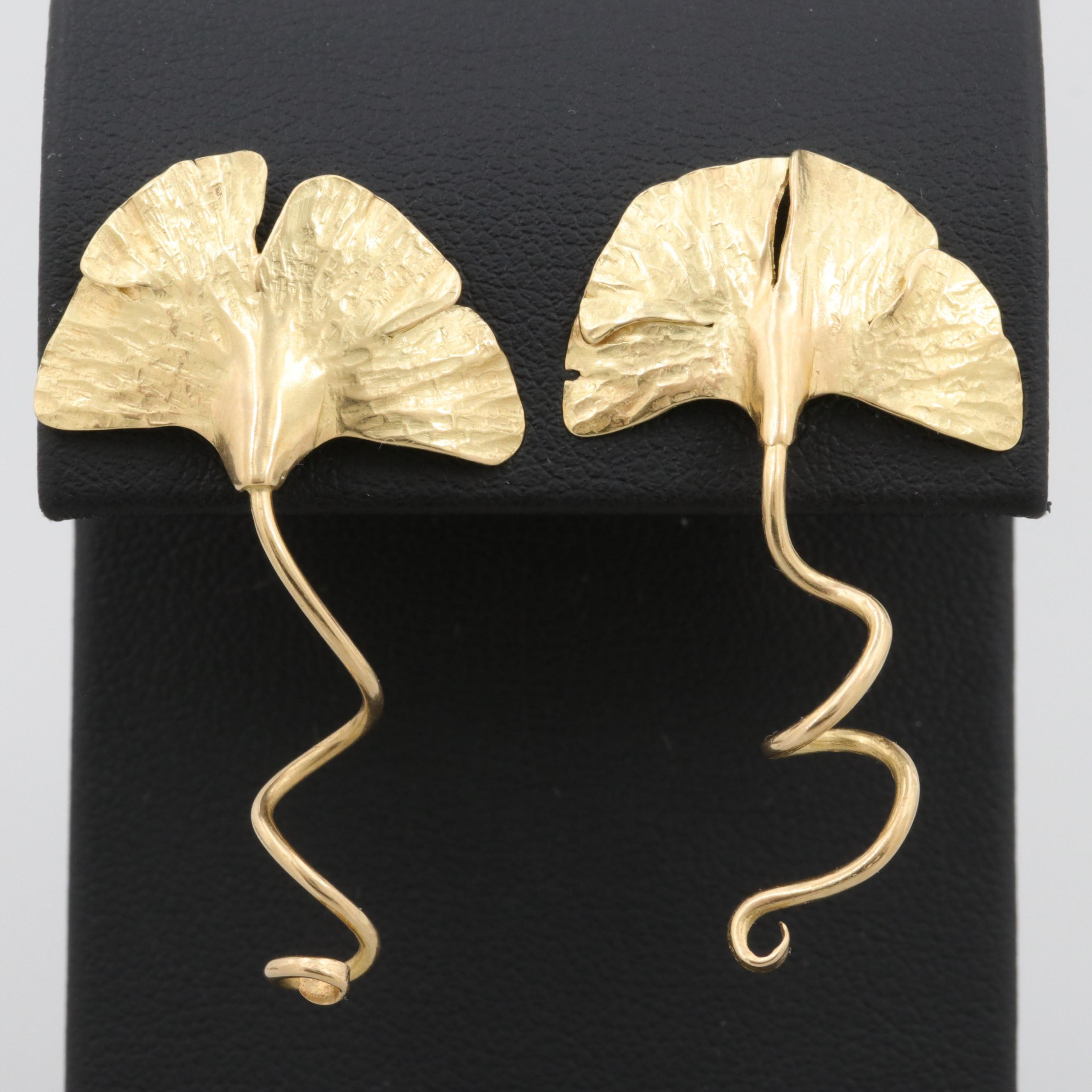 18K Yellow Gold Gingko Leaf Earrings