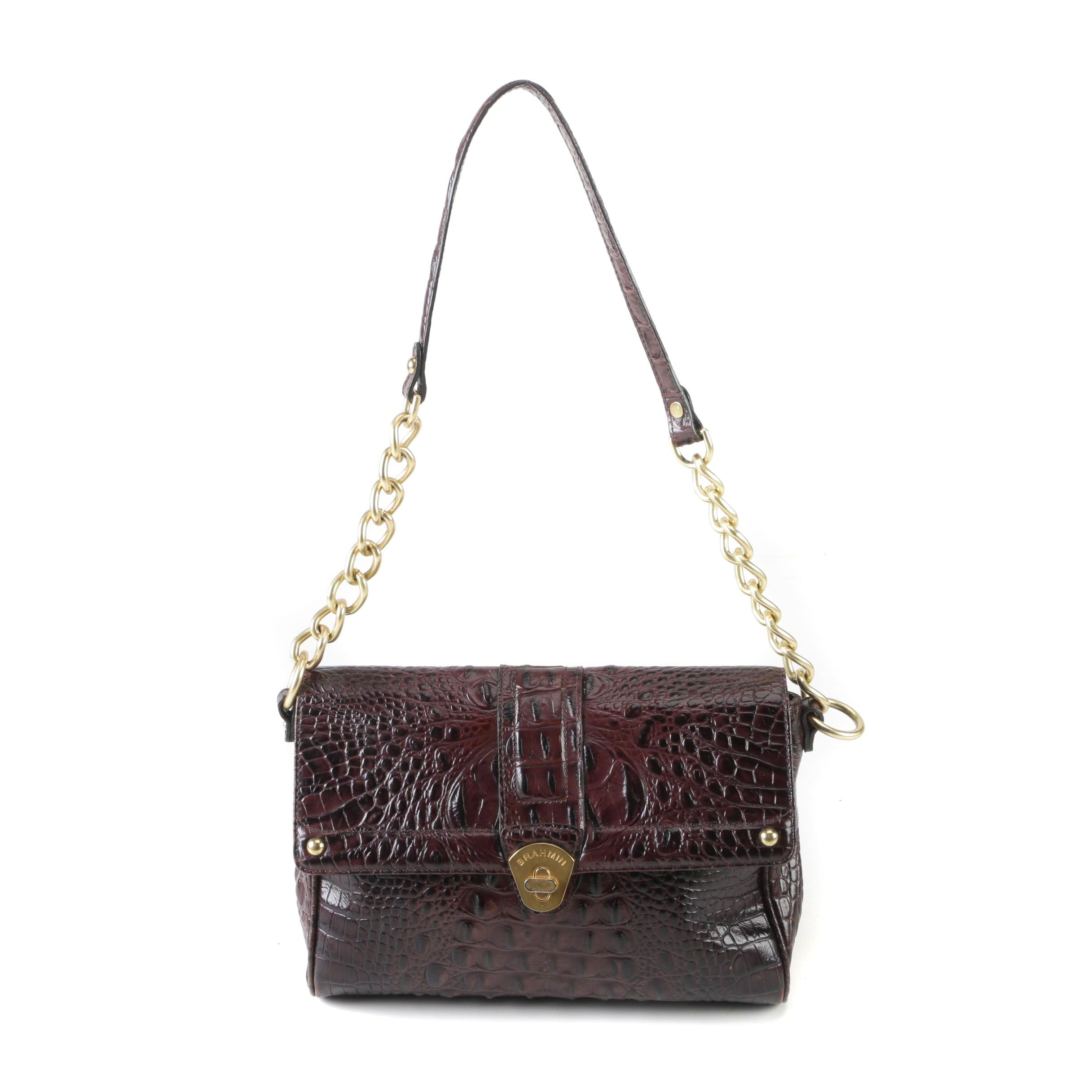 Brahmin Dark Brown Embossed Leather Shoulder Bag