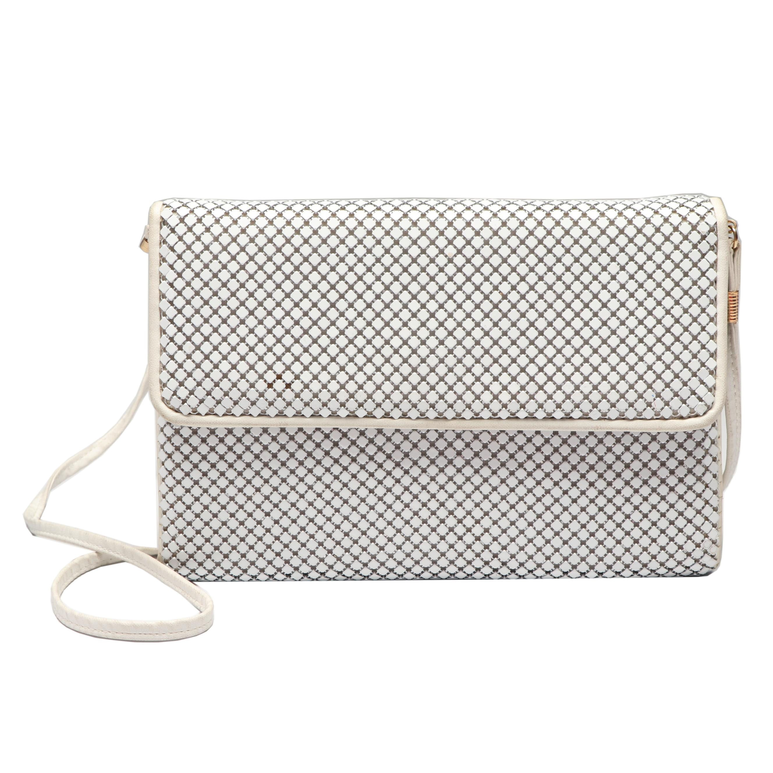 Whiting and Davis White Enameled Metal Mesh Shoulder Bag, circa 1980