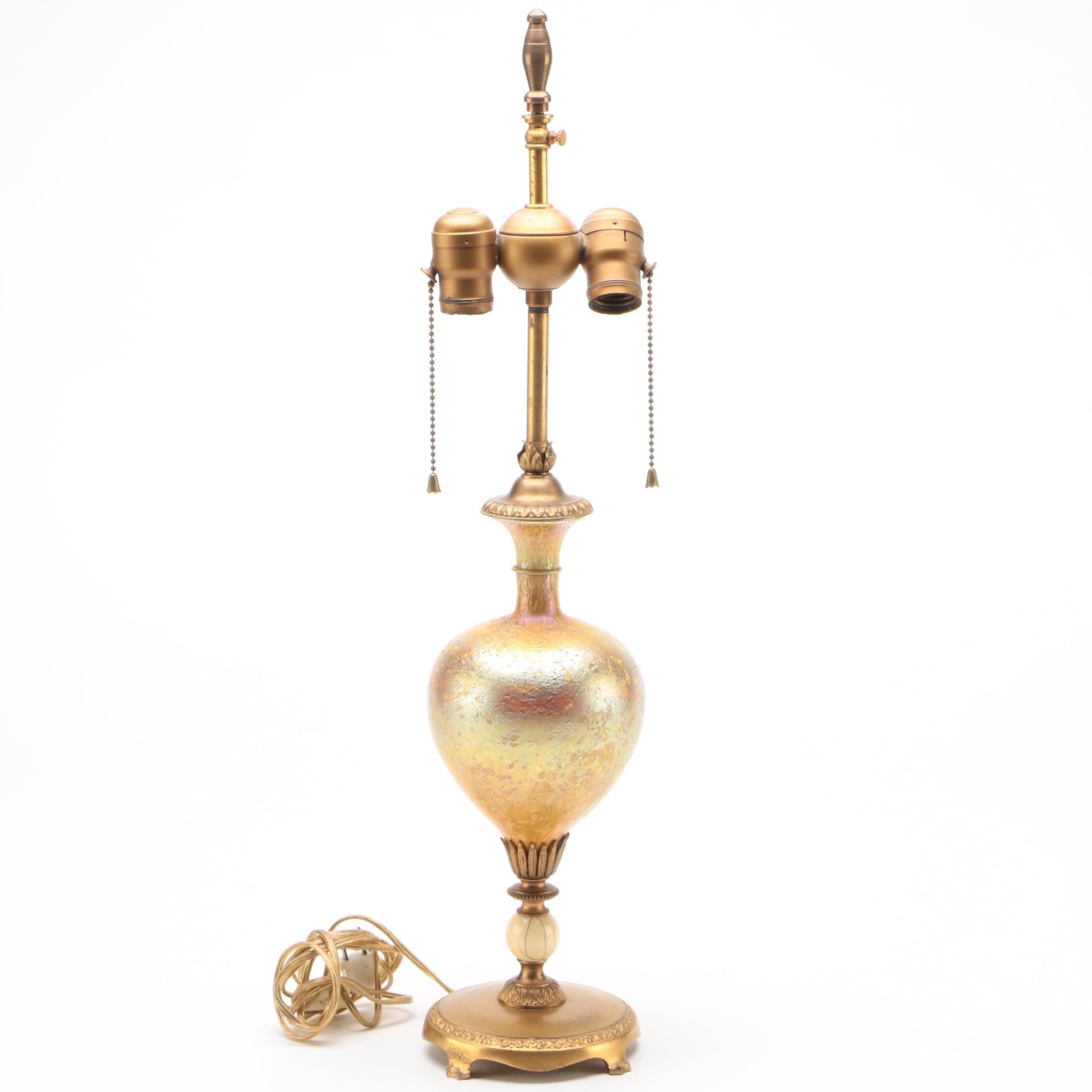 Louis Comfort Tiffany Gold Aurene Favrile Art Glass Table Lamp