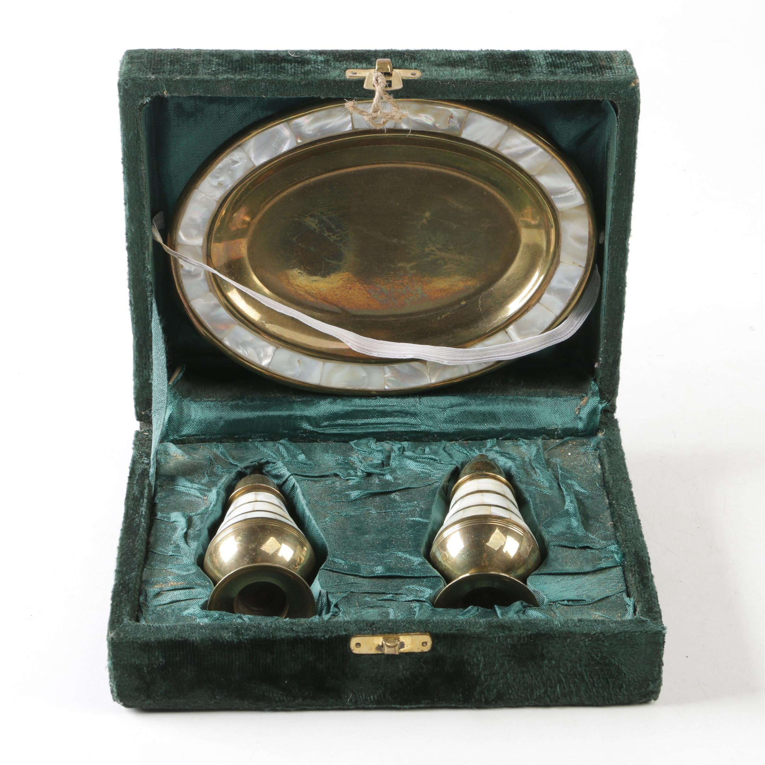 Indian Brass and Mother of Pearl Salt and Pepper Shakers with Underplate