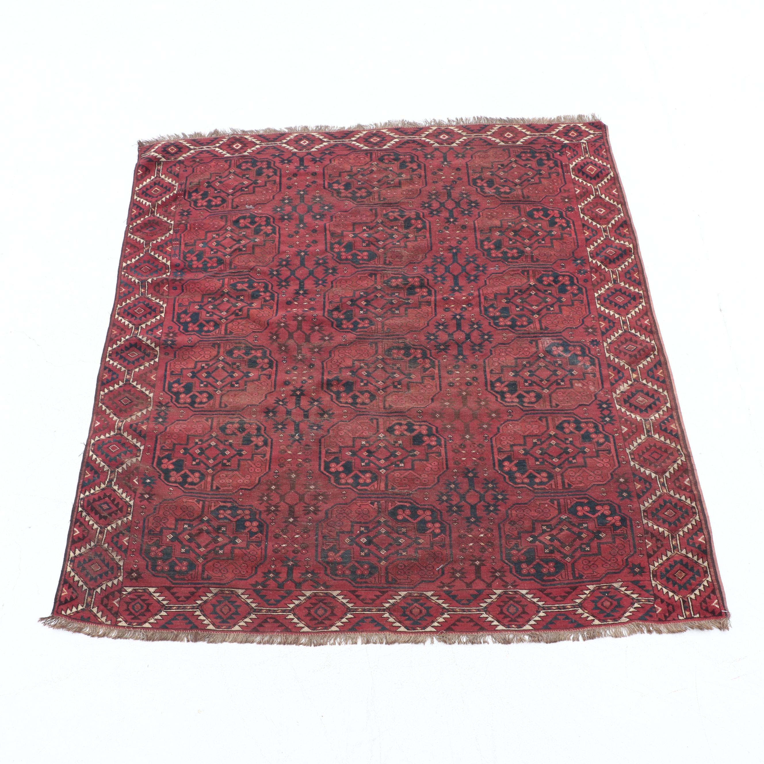 Hand-Knotted Turkoman Bokhara Wool Area Rug
