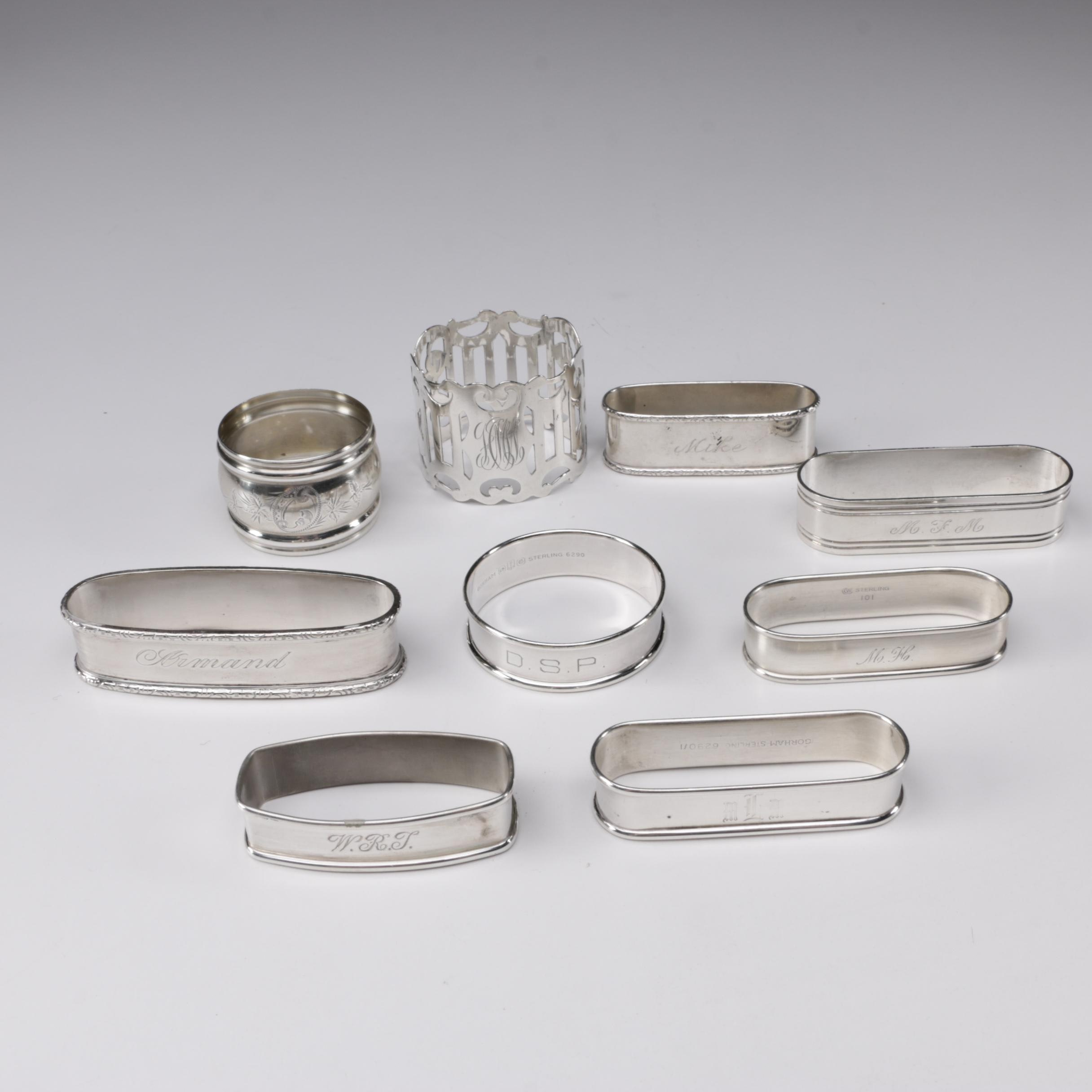 American Sterling Silver Napkin Rings Featuring Gorham, Early 20th Century