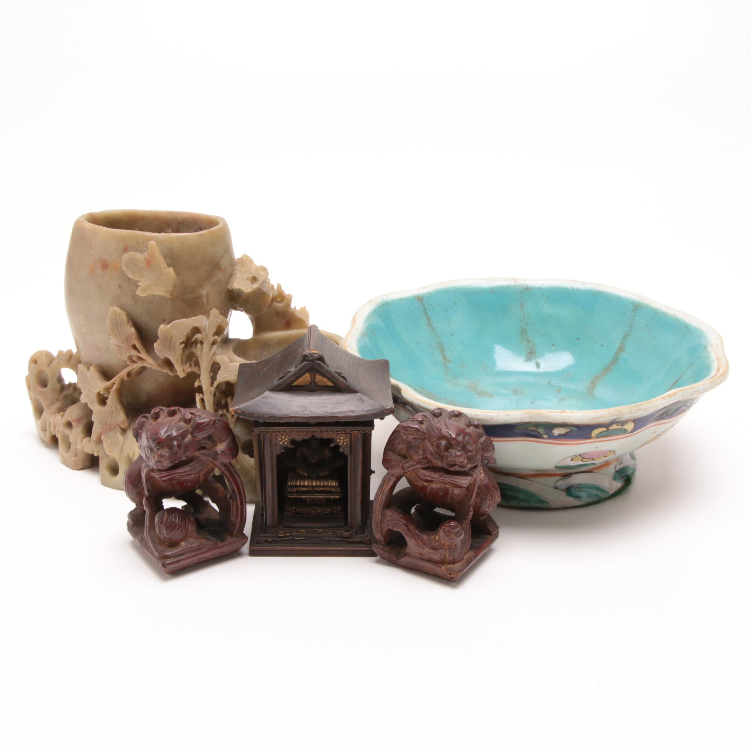 Chinese Carved Soapstone Inkwell, Wood Figurines and Ceramic Bowl