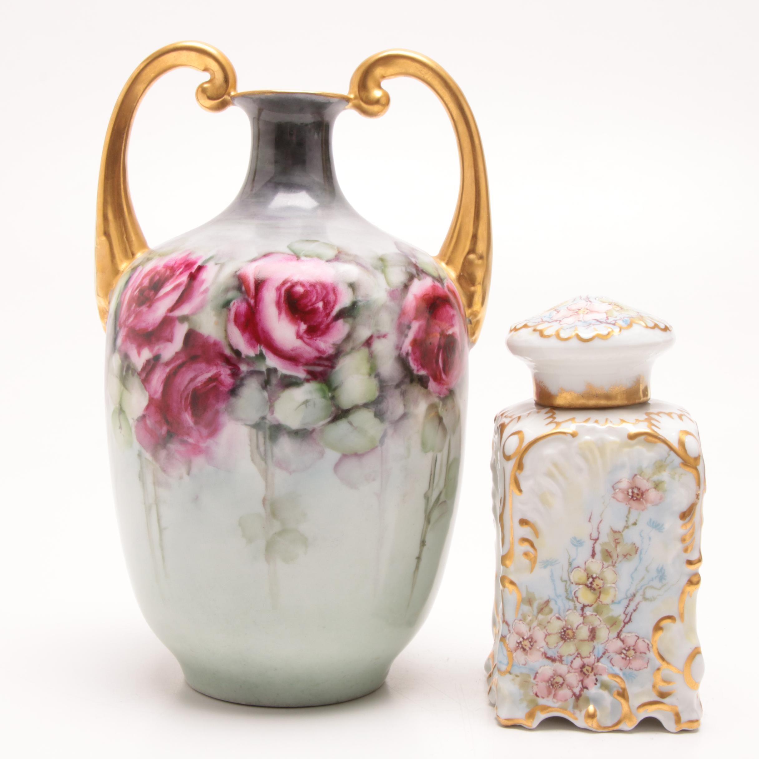 Antique Hand-Painted Austrian Vase and Ceramic Vanity Jar