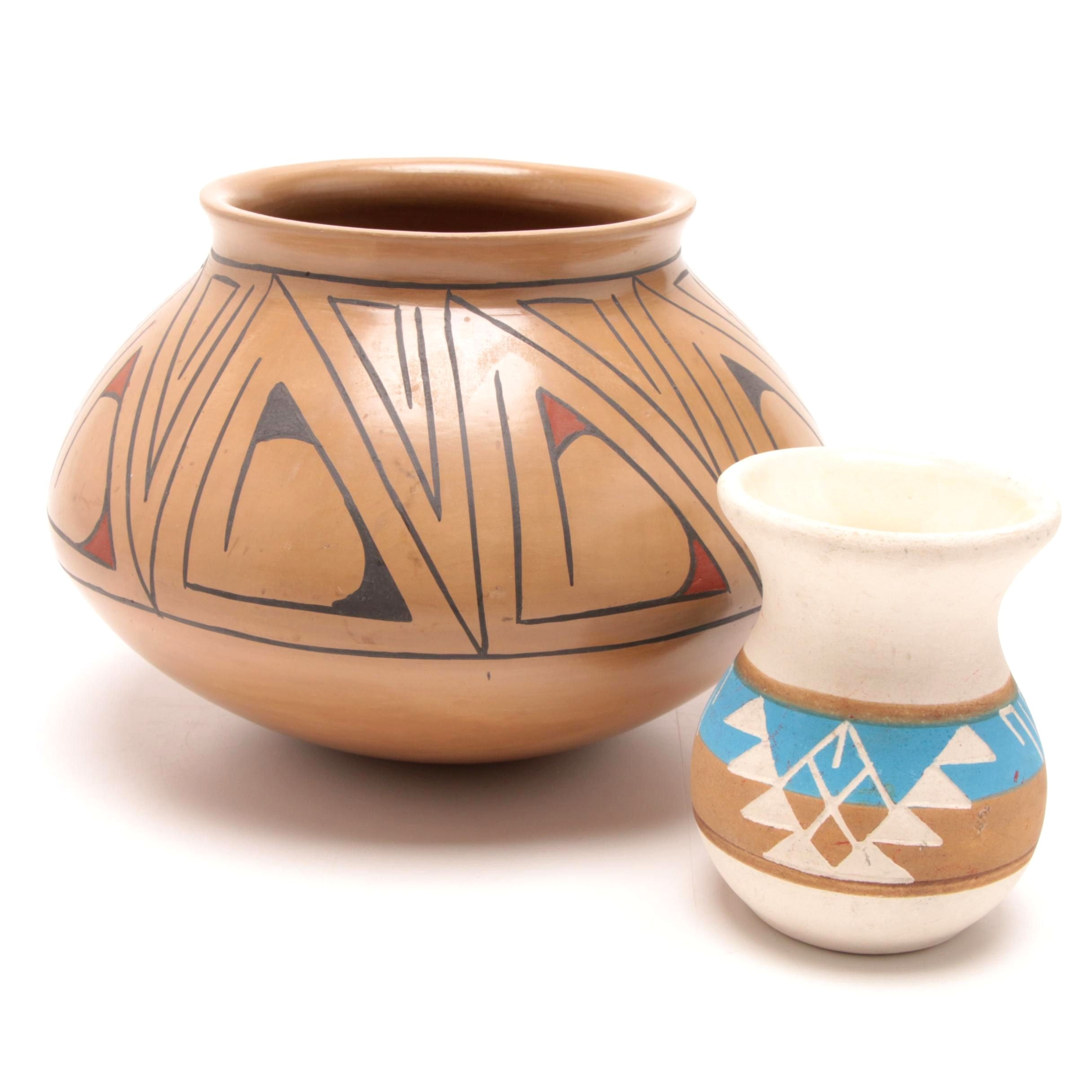 Lourdes Lopez Mata Ortiz Hand-Painted Vessel with Sioux Pottery Seed Pot