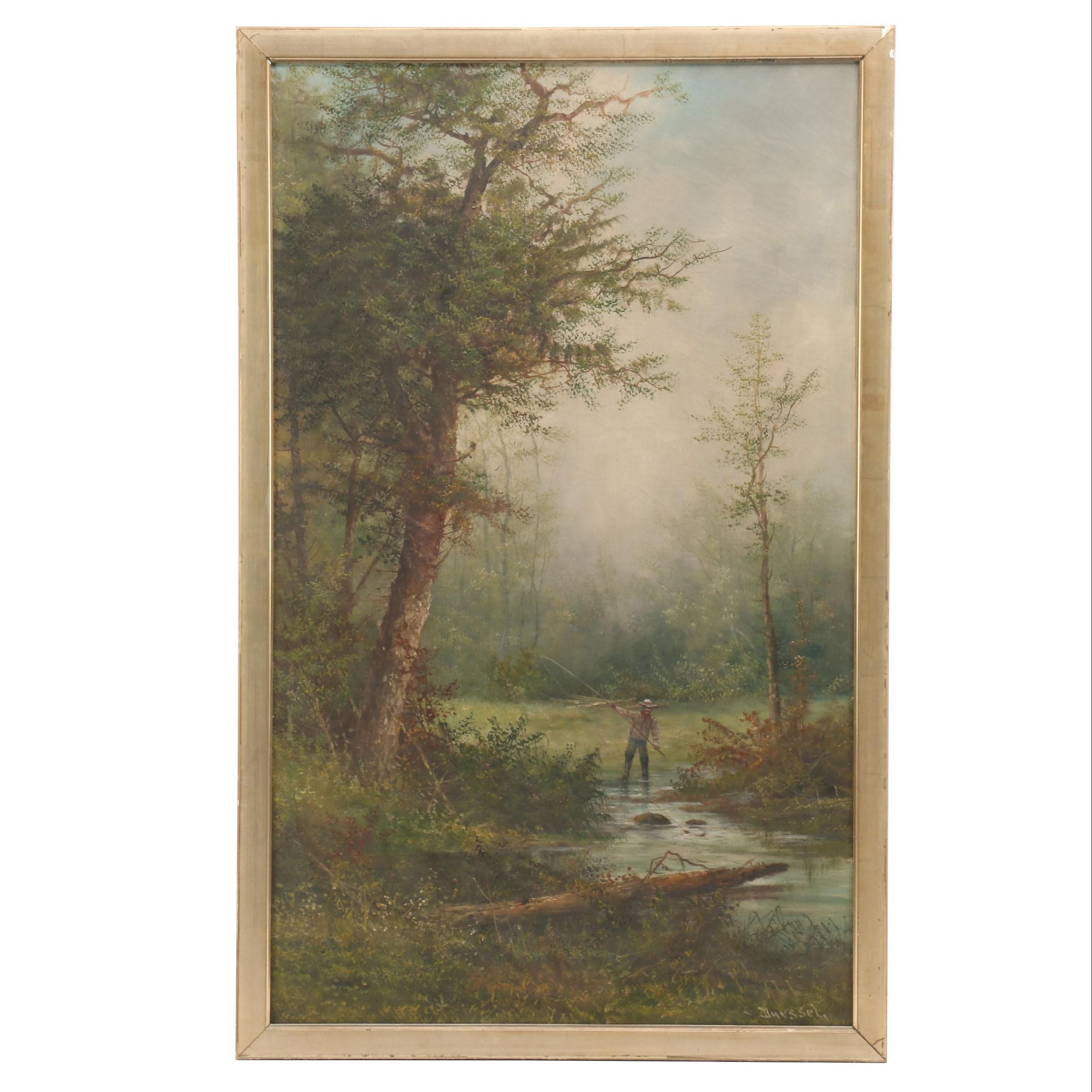 Duessel Late 19th Century River Landscape Oil Painting