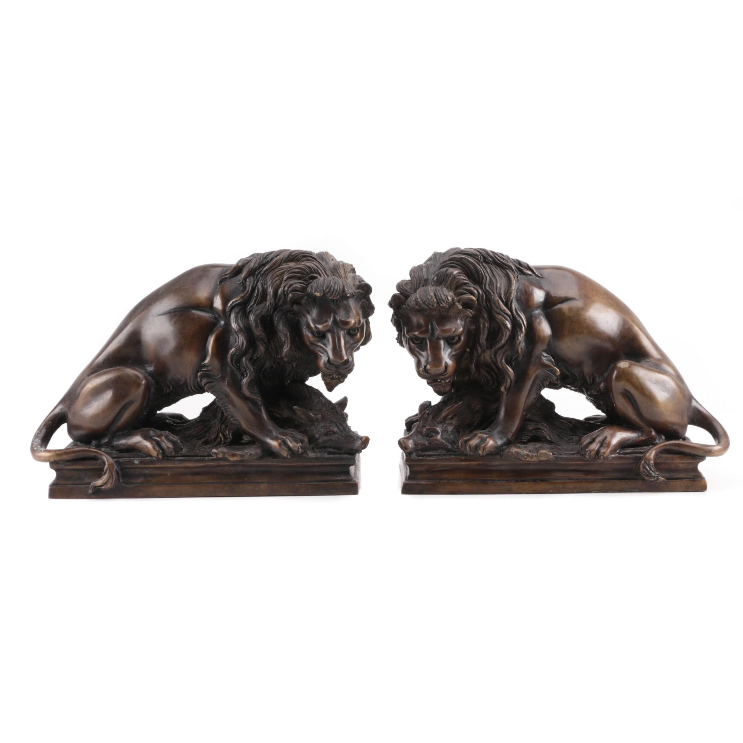 "Reproduction Brass Sculptures after Antoine-Louis Barye ""Lion on Boar"""