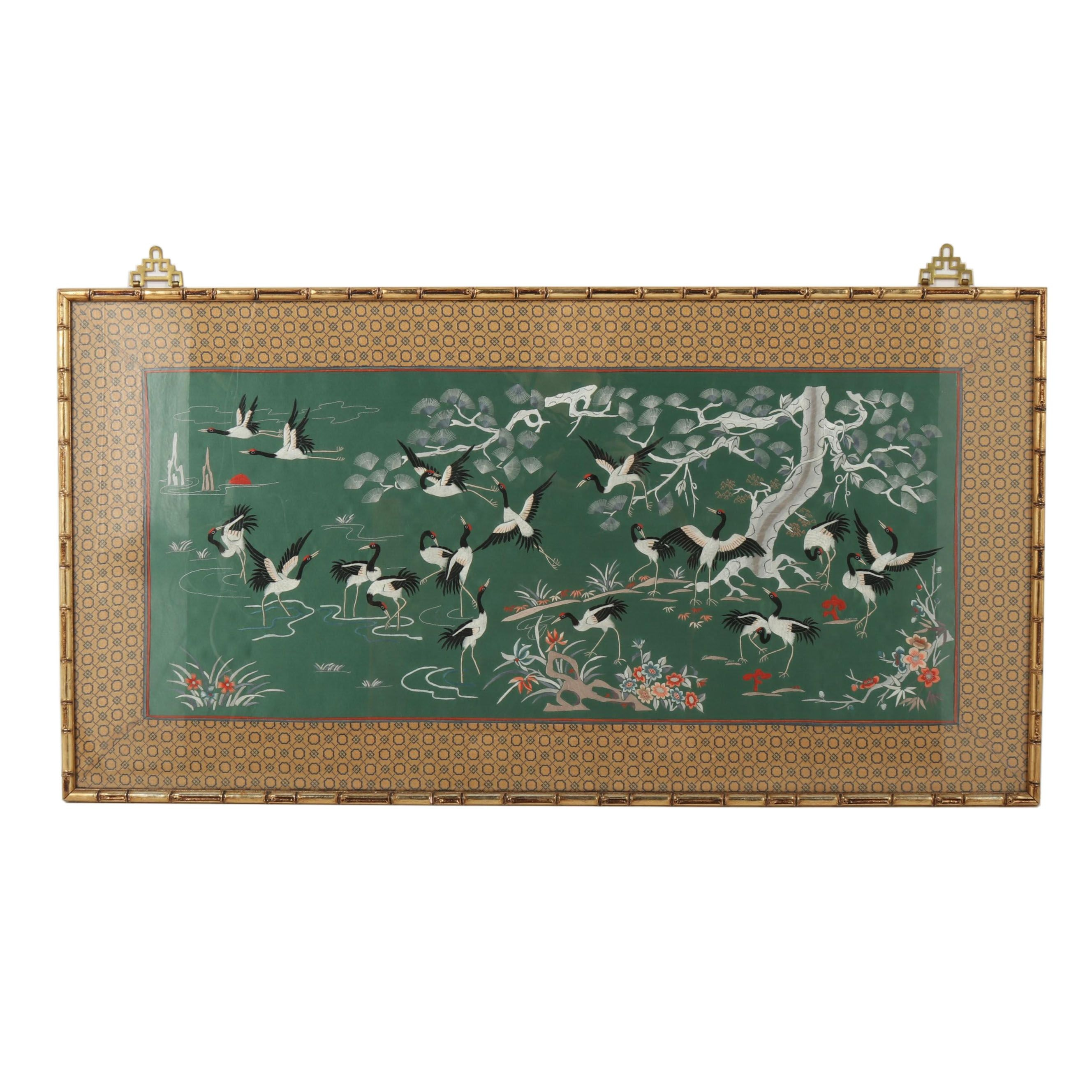 Chinese Silk Embroidery of Cranes