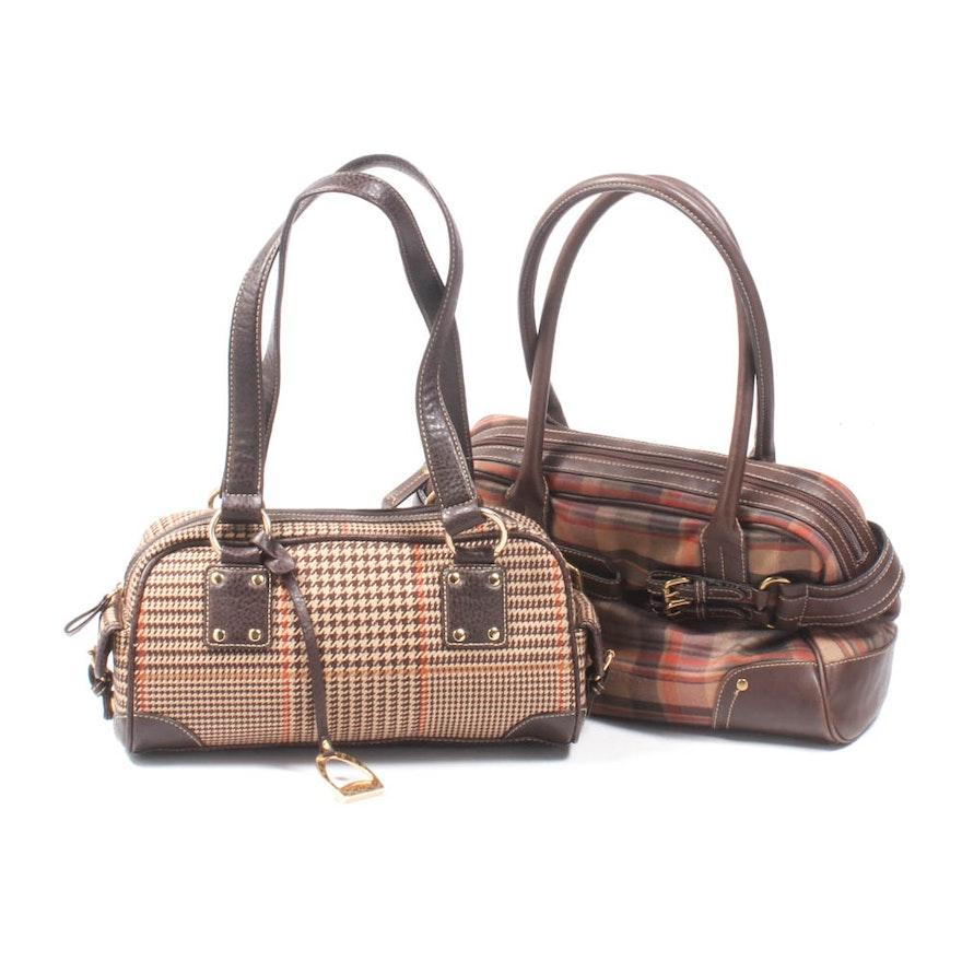 Chaps Plaid and Leather Shoulder Bags   EBTH 0f8d6e80a9c2e