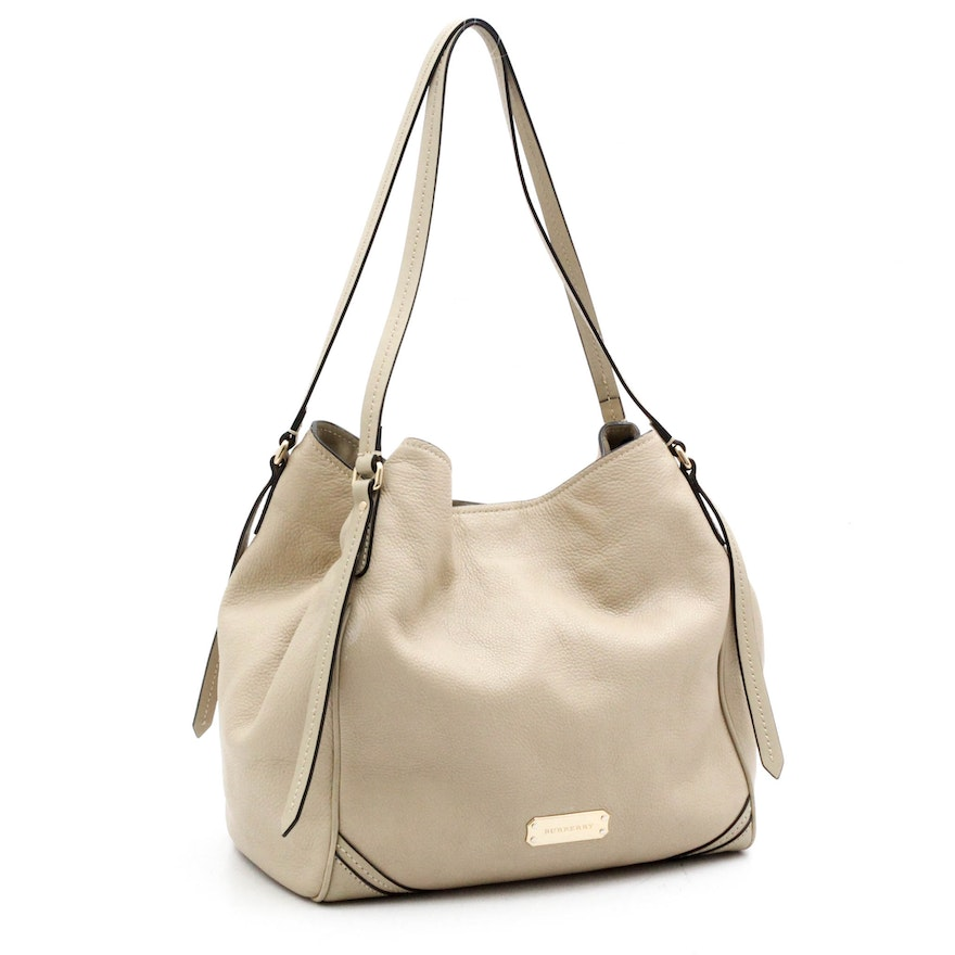 32bd98389cc2 Burberry Cream Pebbled Leather Tote Bag with Zippered Pouch   EBTH