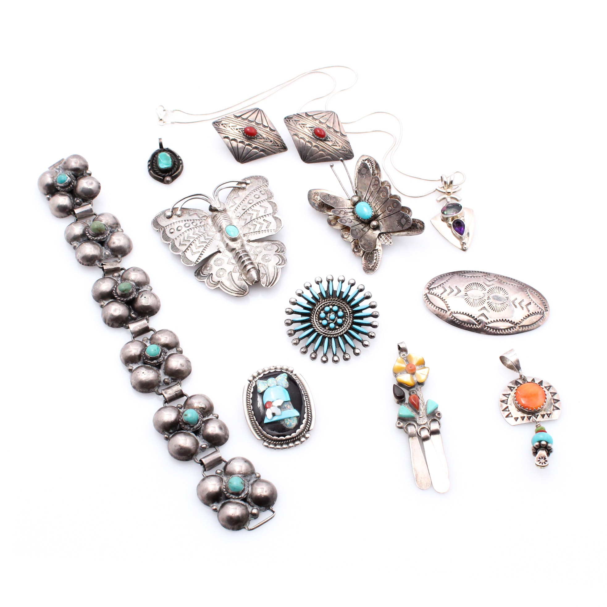 Southwestern Style Sterling Silver Jewelry with Turquoise and Coral