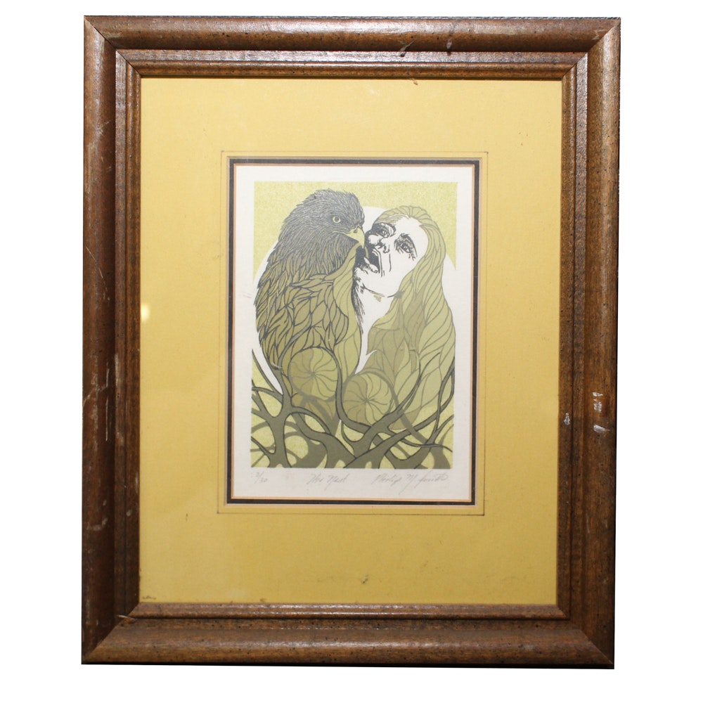 "Philip M. Smith Woodblock Print ""The Nest"""