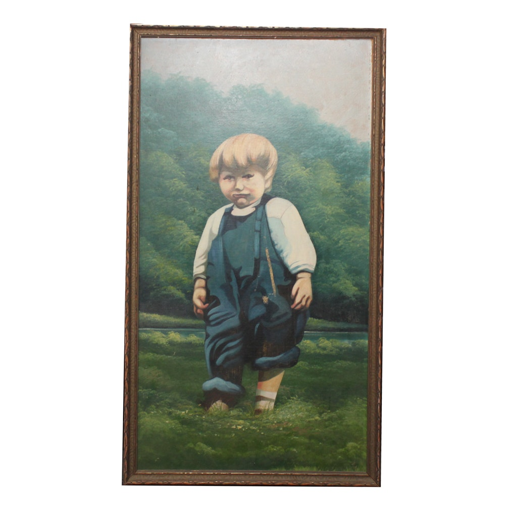 Antique Oil Painting of Young Boy