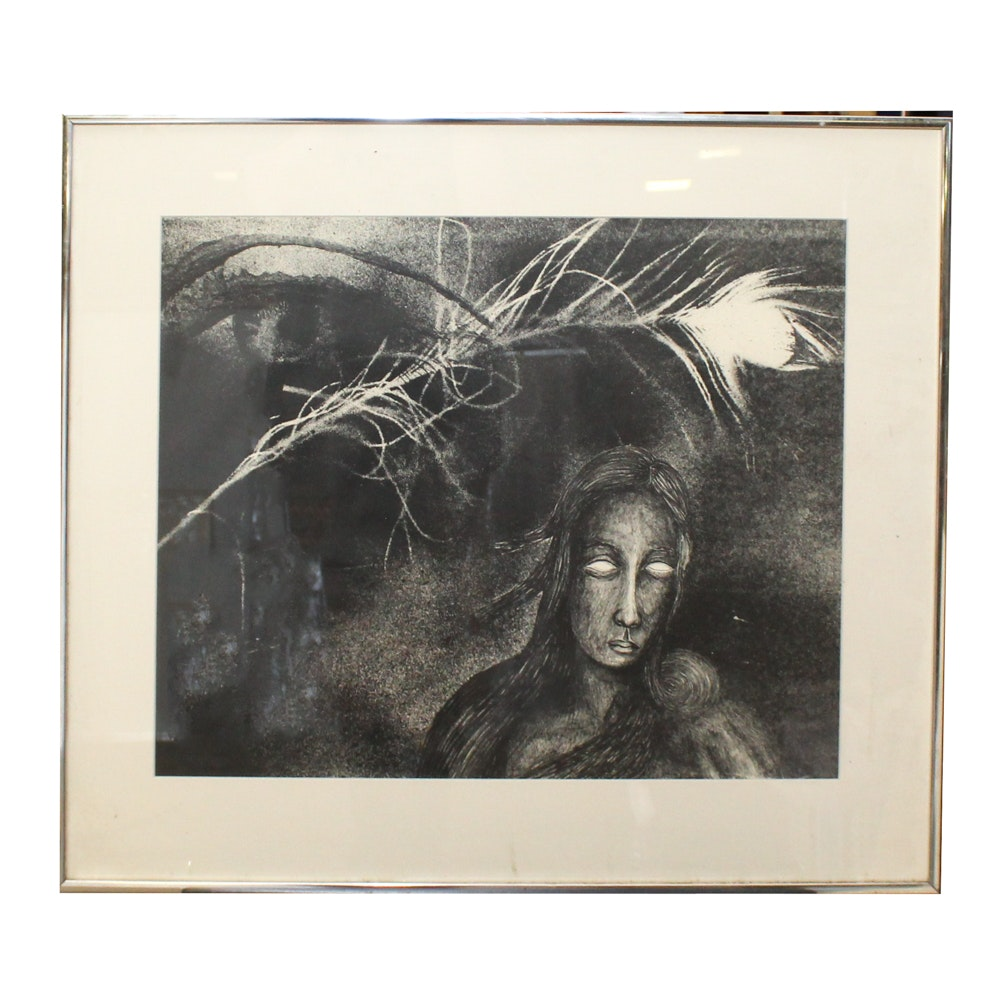 Abstract Relief Print of Woman