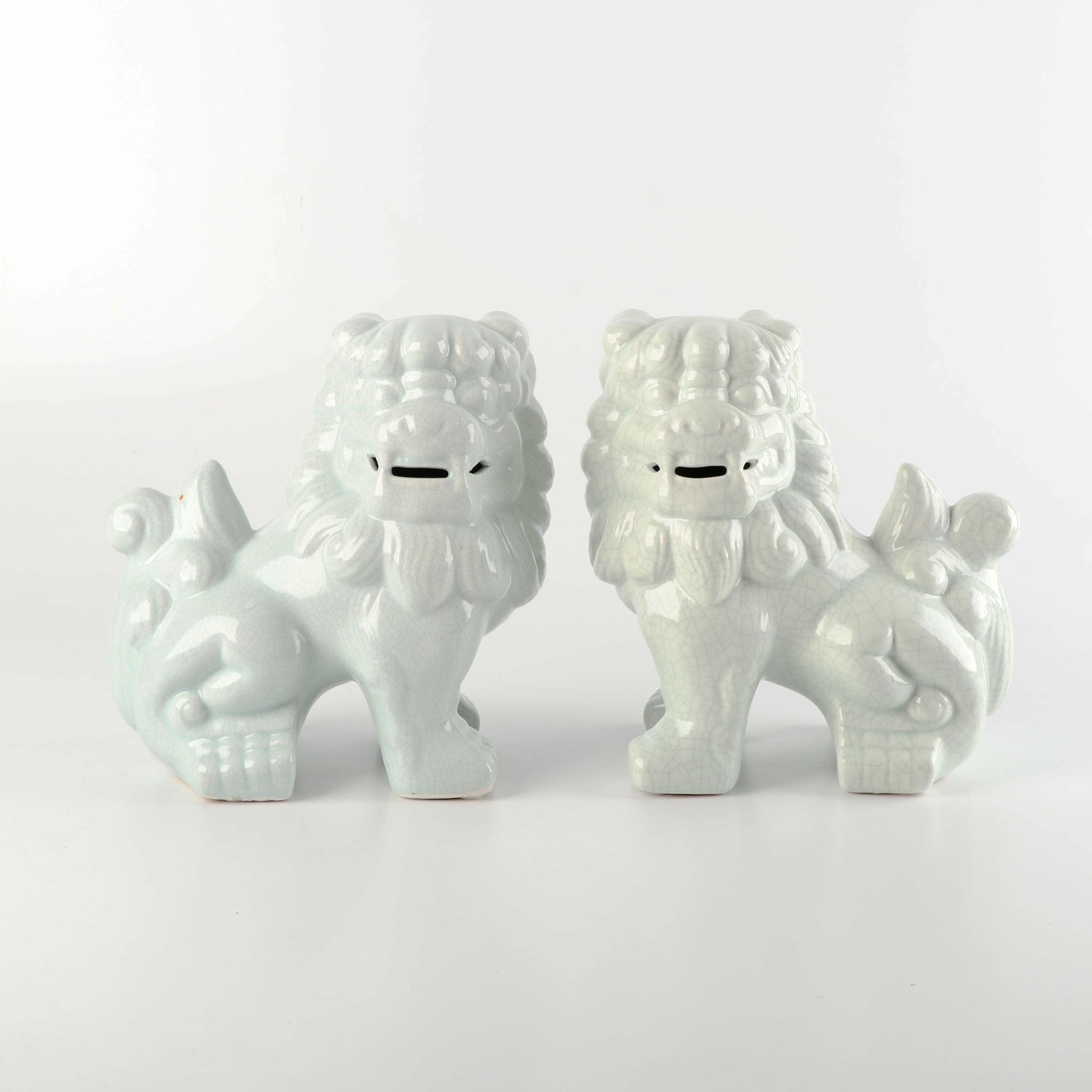 Ceramic Chinese Guardian Lion Figurines