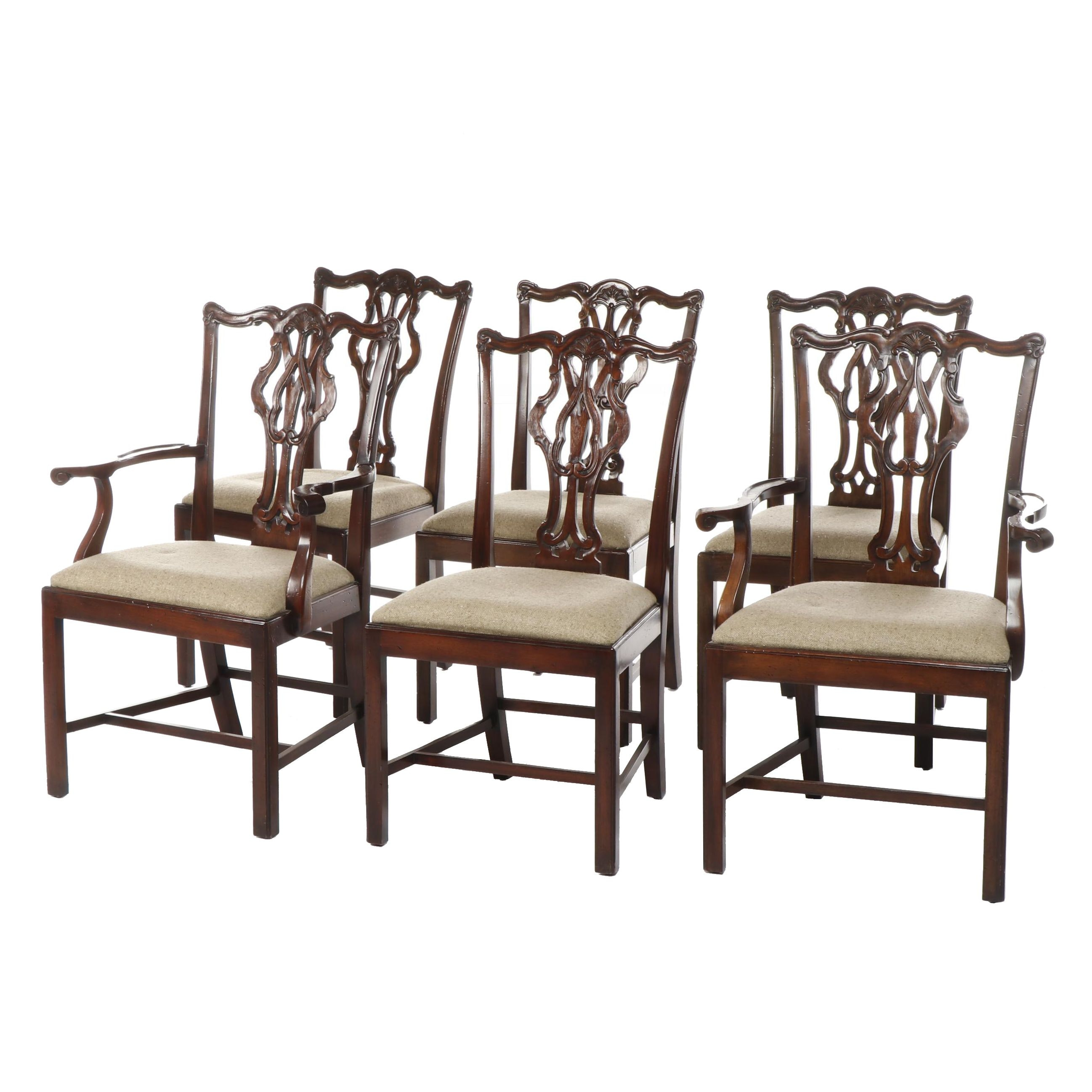 Chippendale Style Upholstered Side Chairs and Armchairs, Late 20th Century