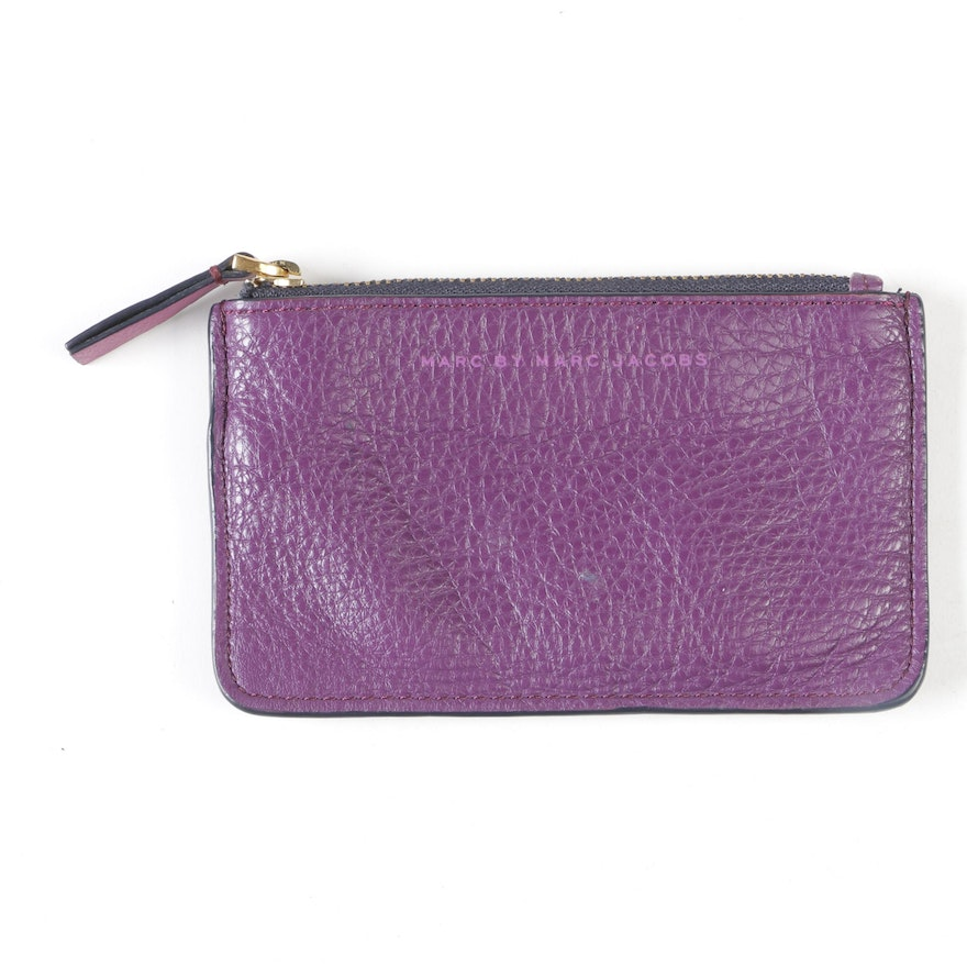 3189868b88833a Marc by Marc Jacobs Purple Leather Coin Purse with Key Ring | EBTH