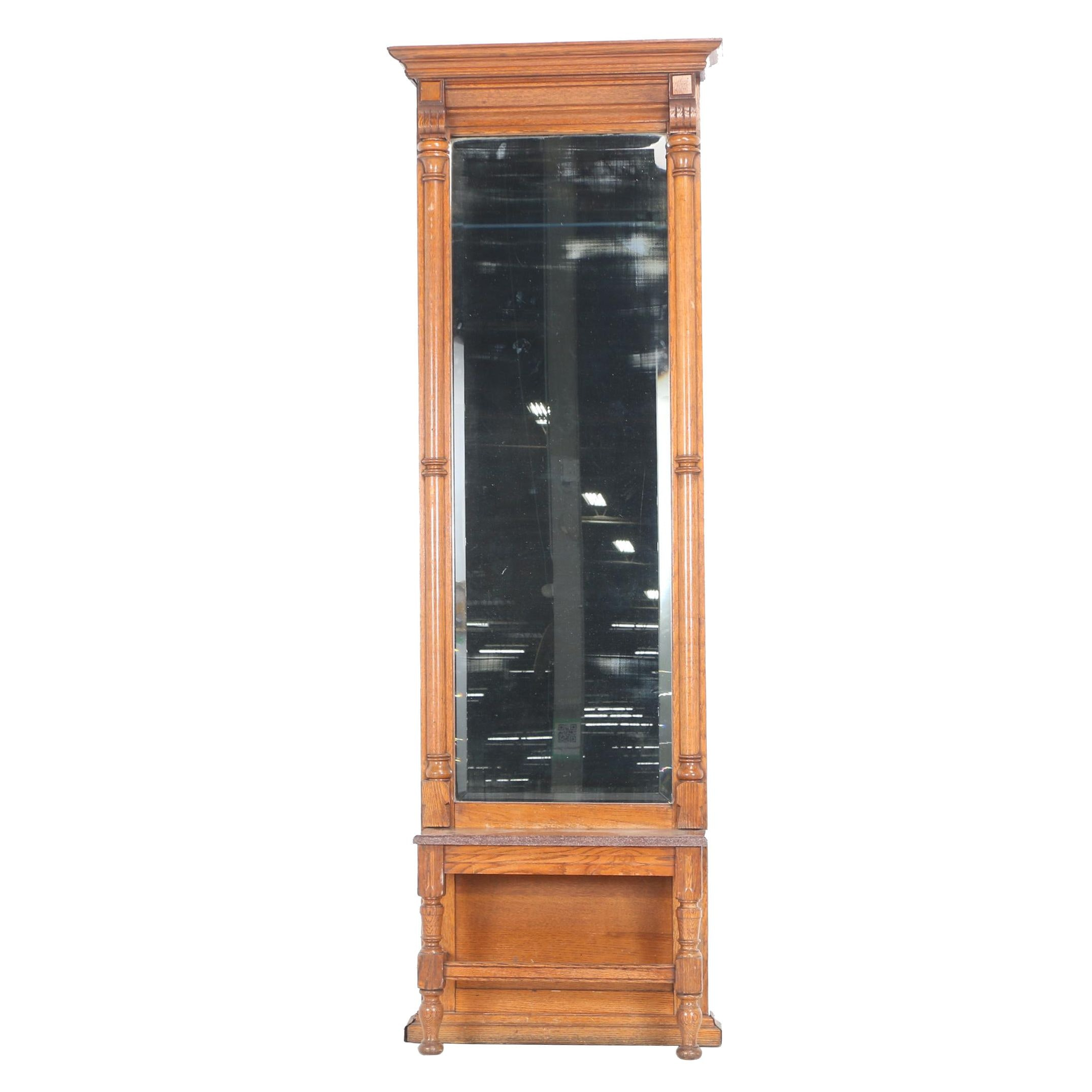 Late Victorian Oak and Marble Pier Mirror, Circa 1900