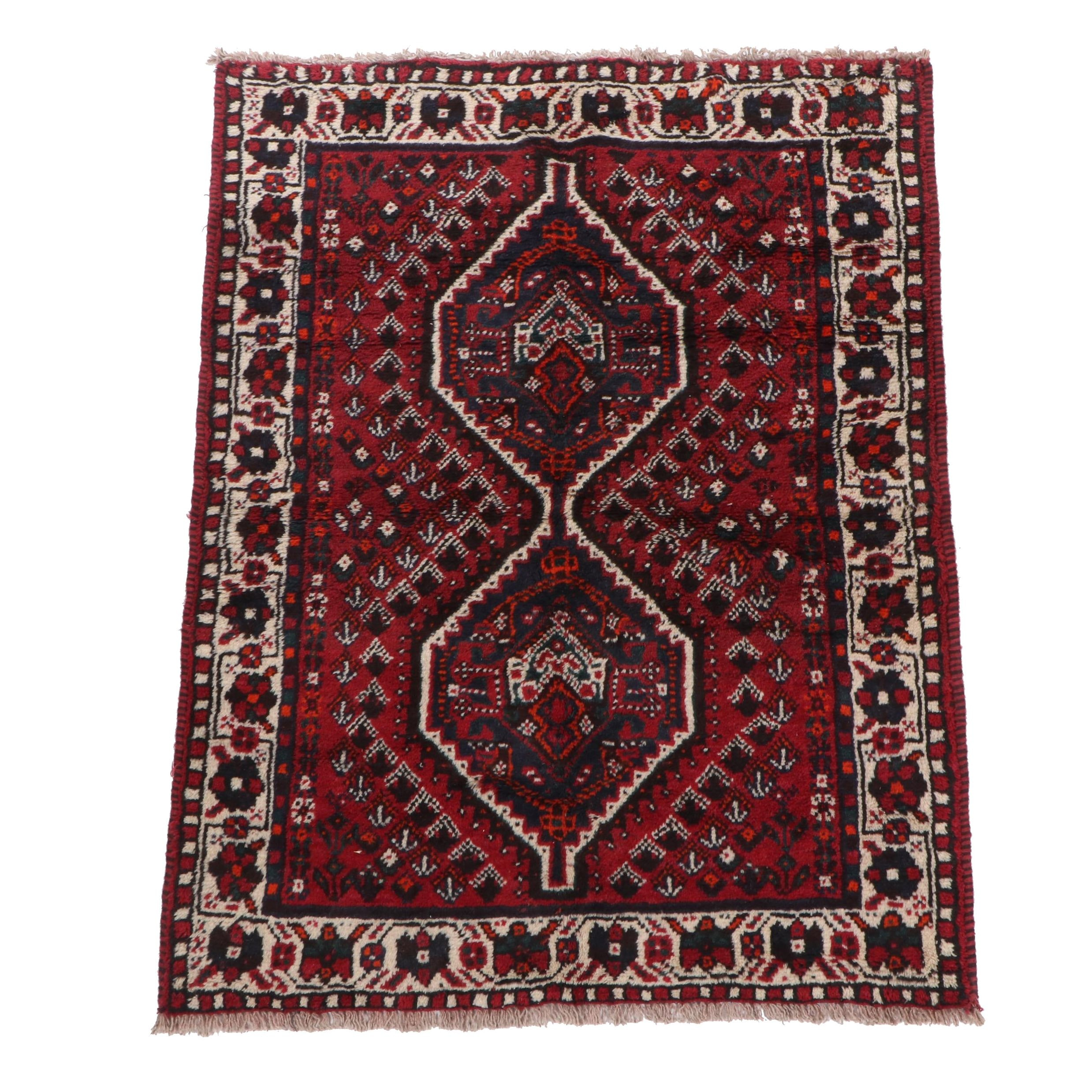 Hand-Knotted Persian Shiraz Wool Area Rug