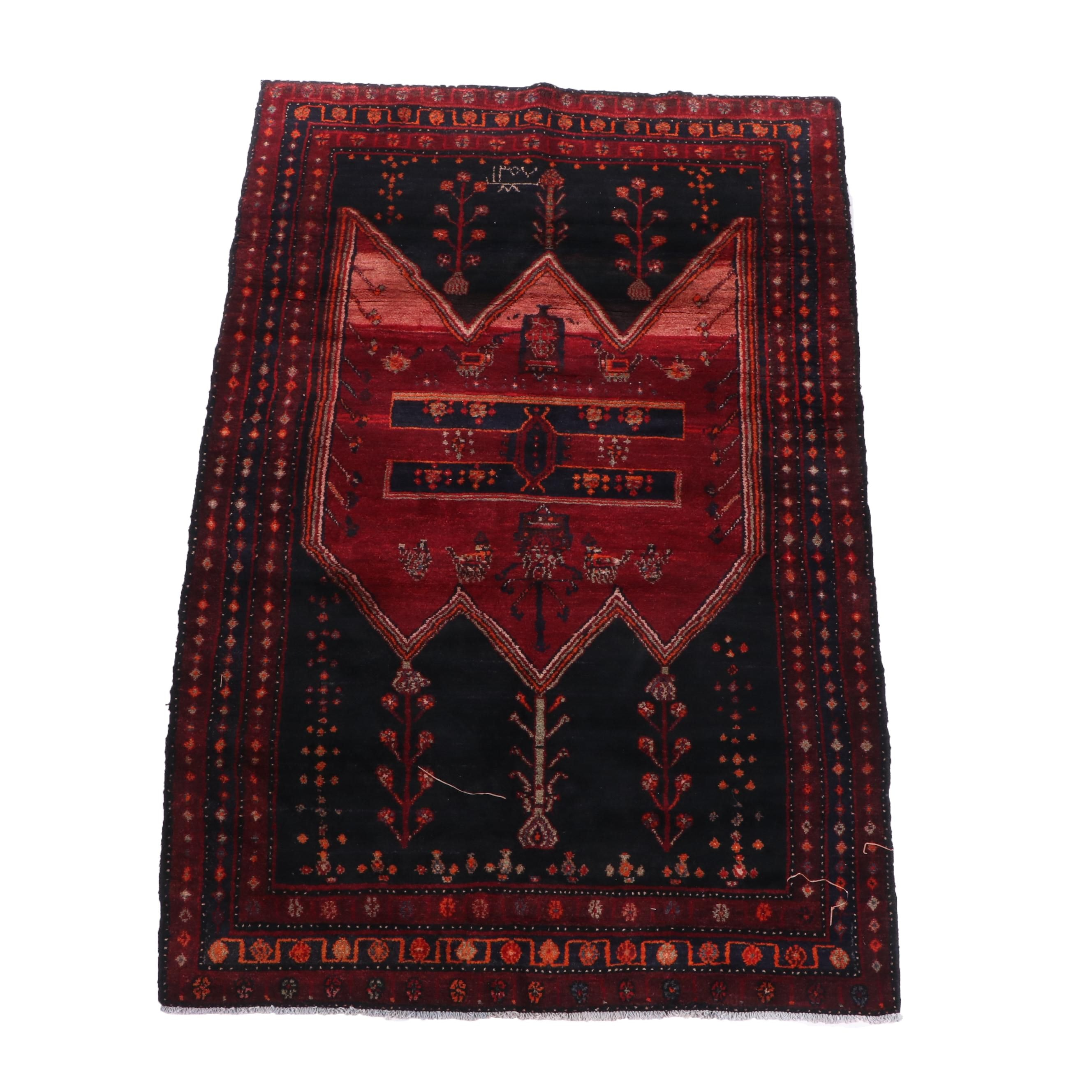 Hand-Knotted Kurdish Kolyai Wool Area Rug