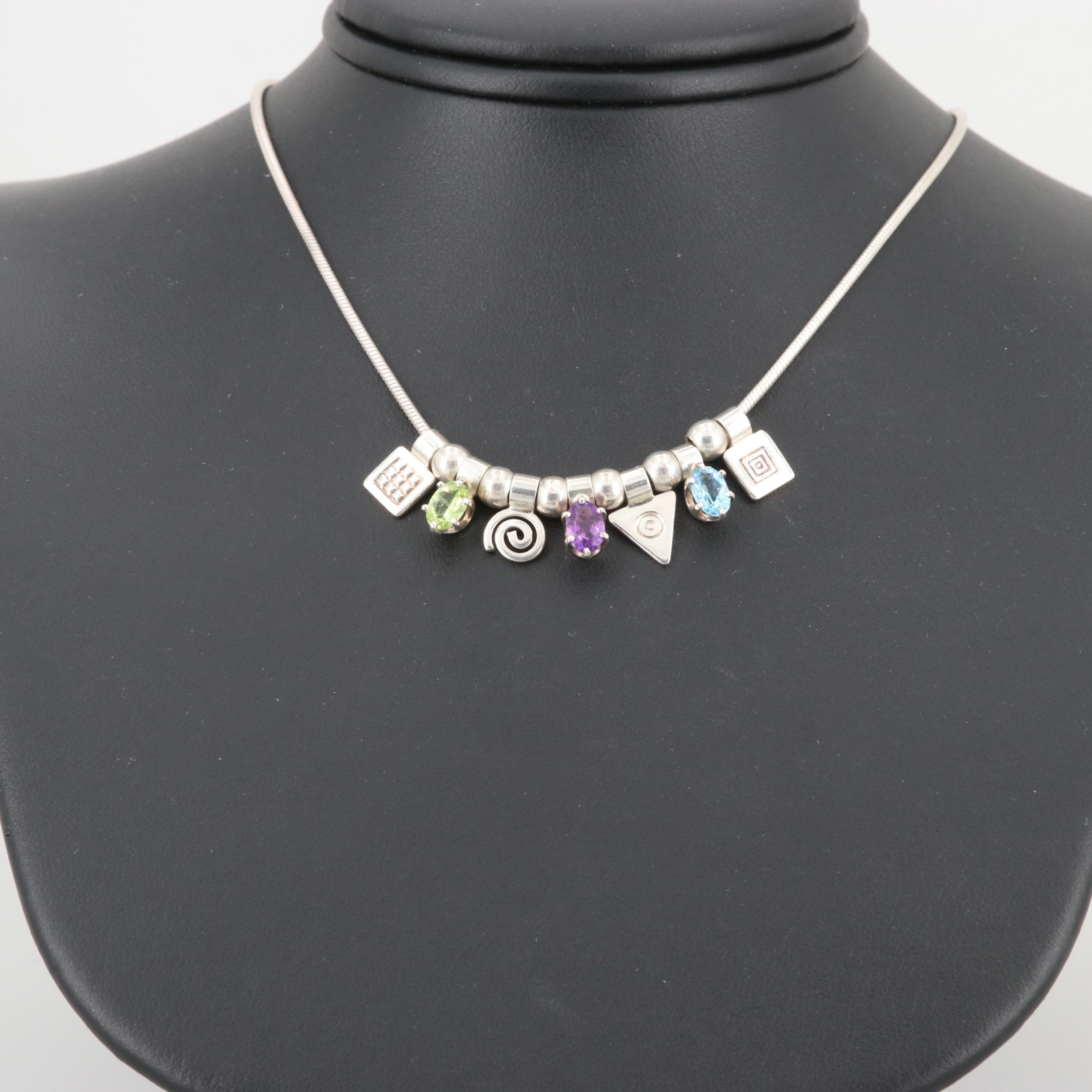 Sterling Silver Peridot, Amethyst and Topaz Charm Necklace
