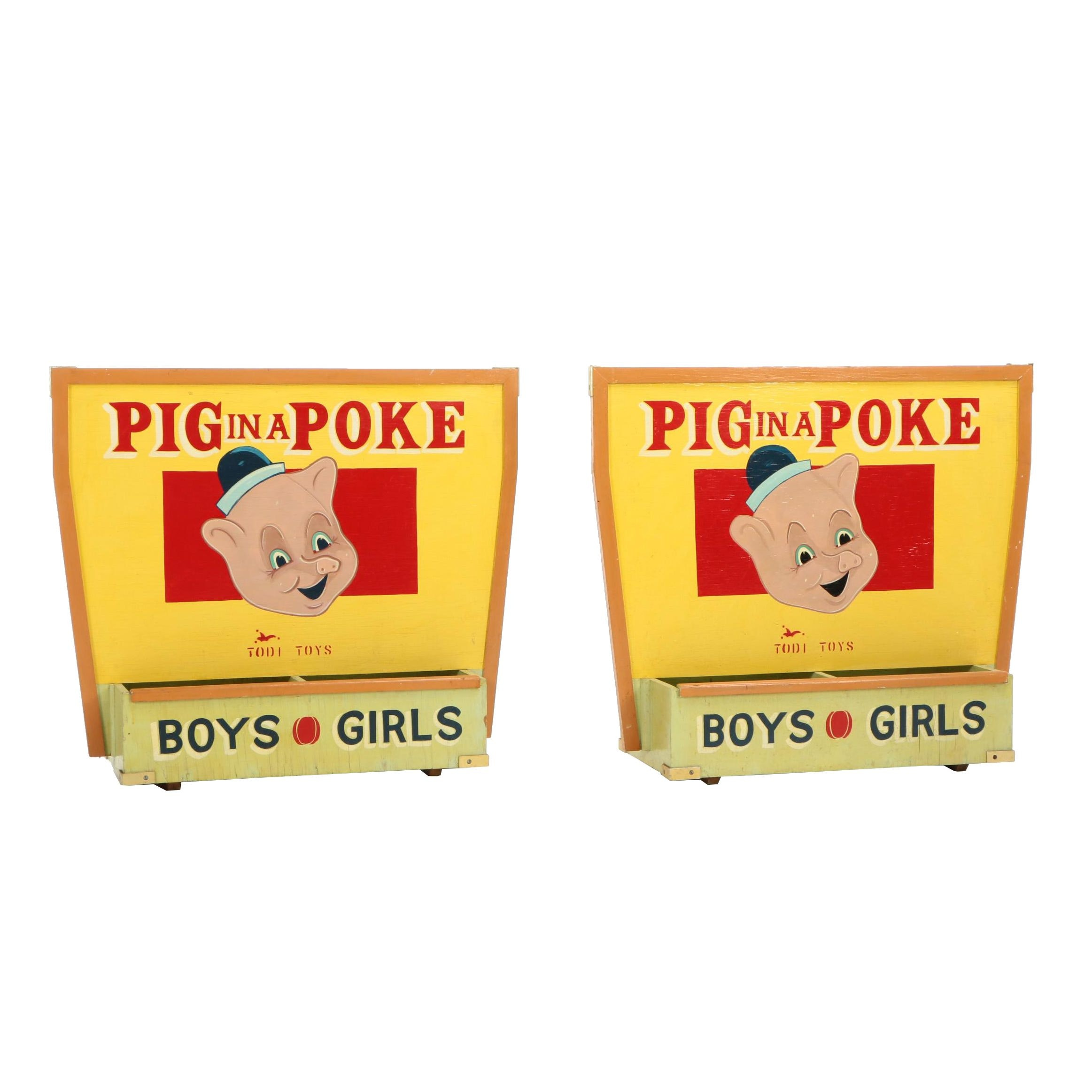"""Pair of Todi Toys """"Pig in a Poke"""" Hand-Painted Retail Display Bins, Mid-Century"""