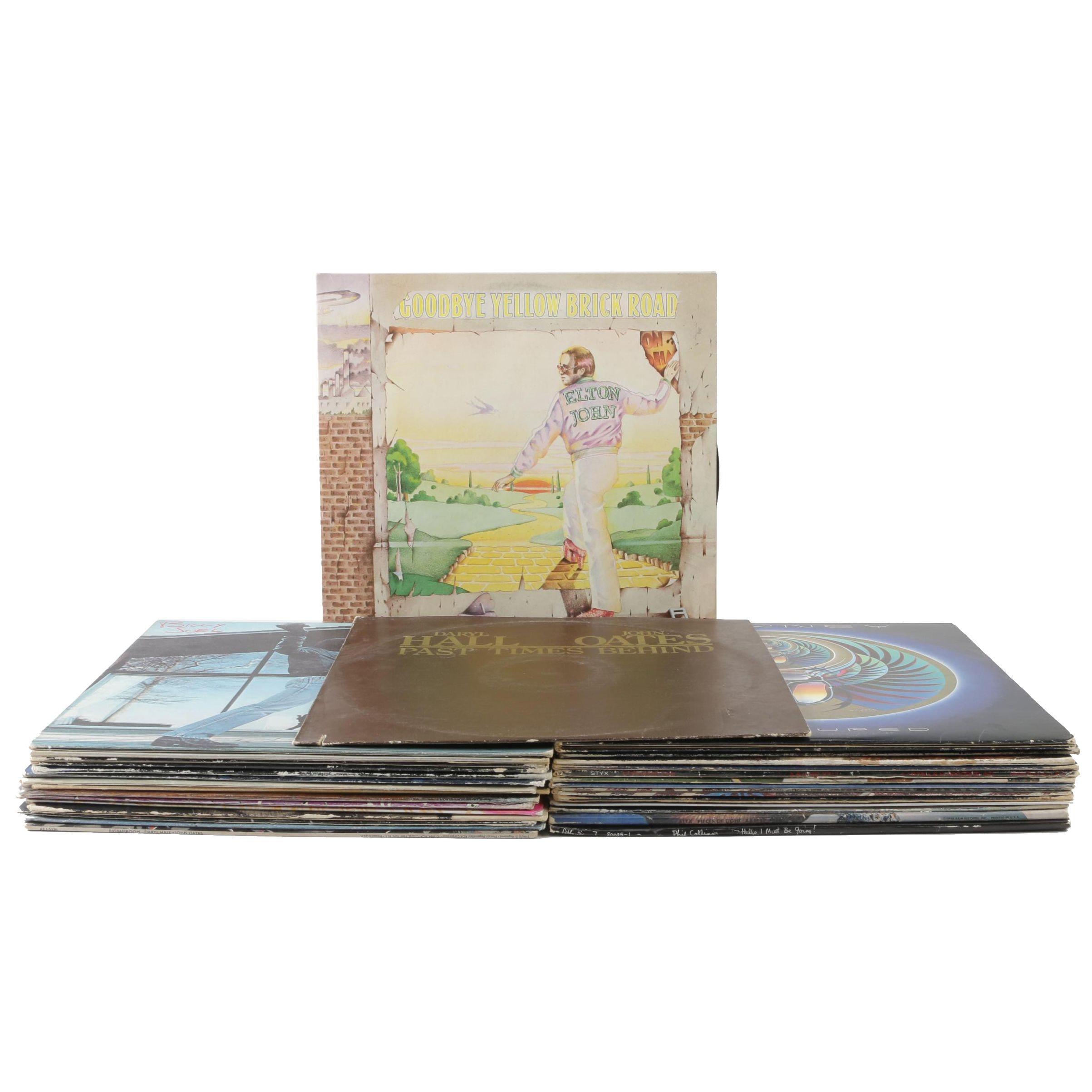 Rock and Pop Vinyl Records including Elton John, Journey, and Billy Joel
