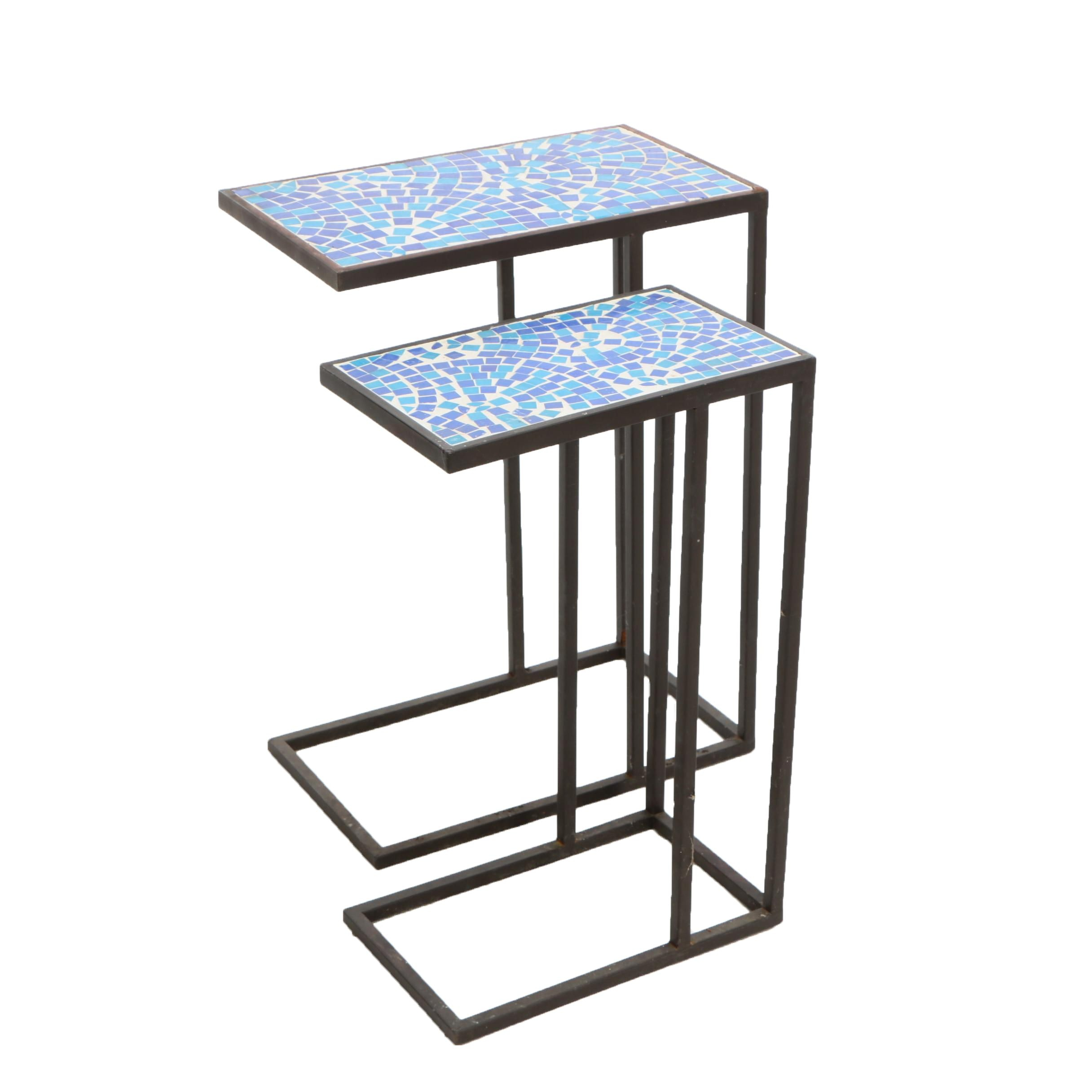 Metal and Ceramic Tile Mosaic Outdoor Nesting Tables