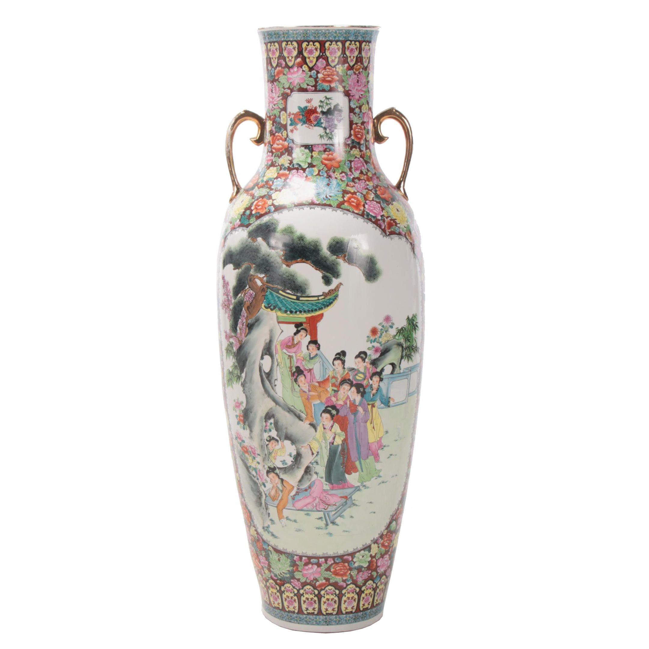 "Chinese ""Rose Medallion"" Ceramic Floor Vase"