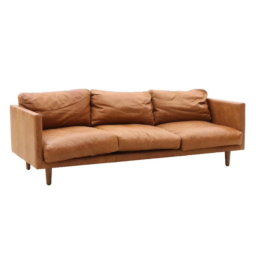 Mid Century Modern Tan Leather Sofa