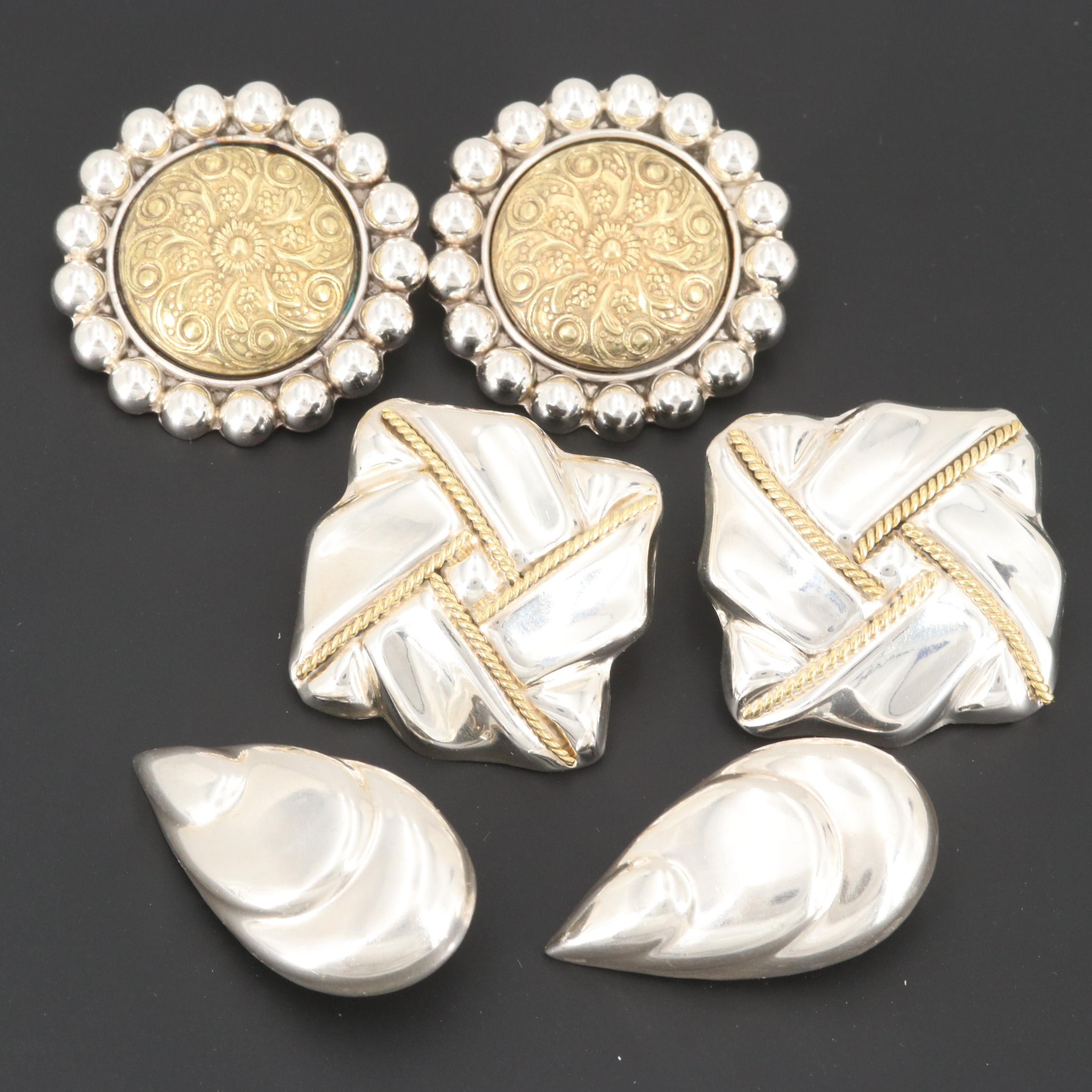 Mexican Sterling Earrings Featuring Talleres De Los Ballesteros and Gold Wash