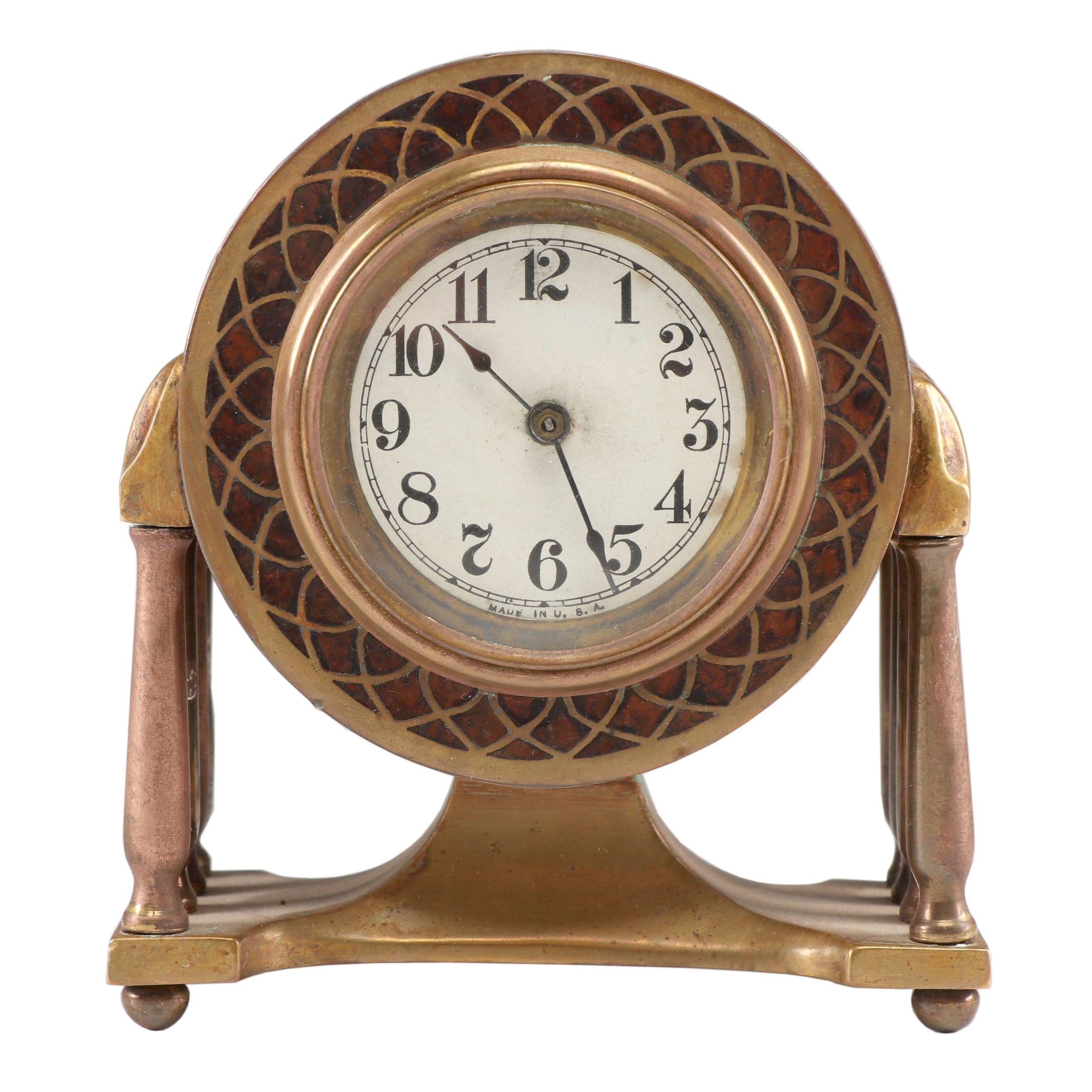 Art Nouveau Style Brass Wind Up Shelf Clock, Mid-Century