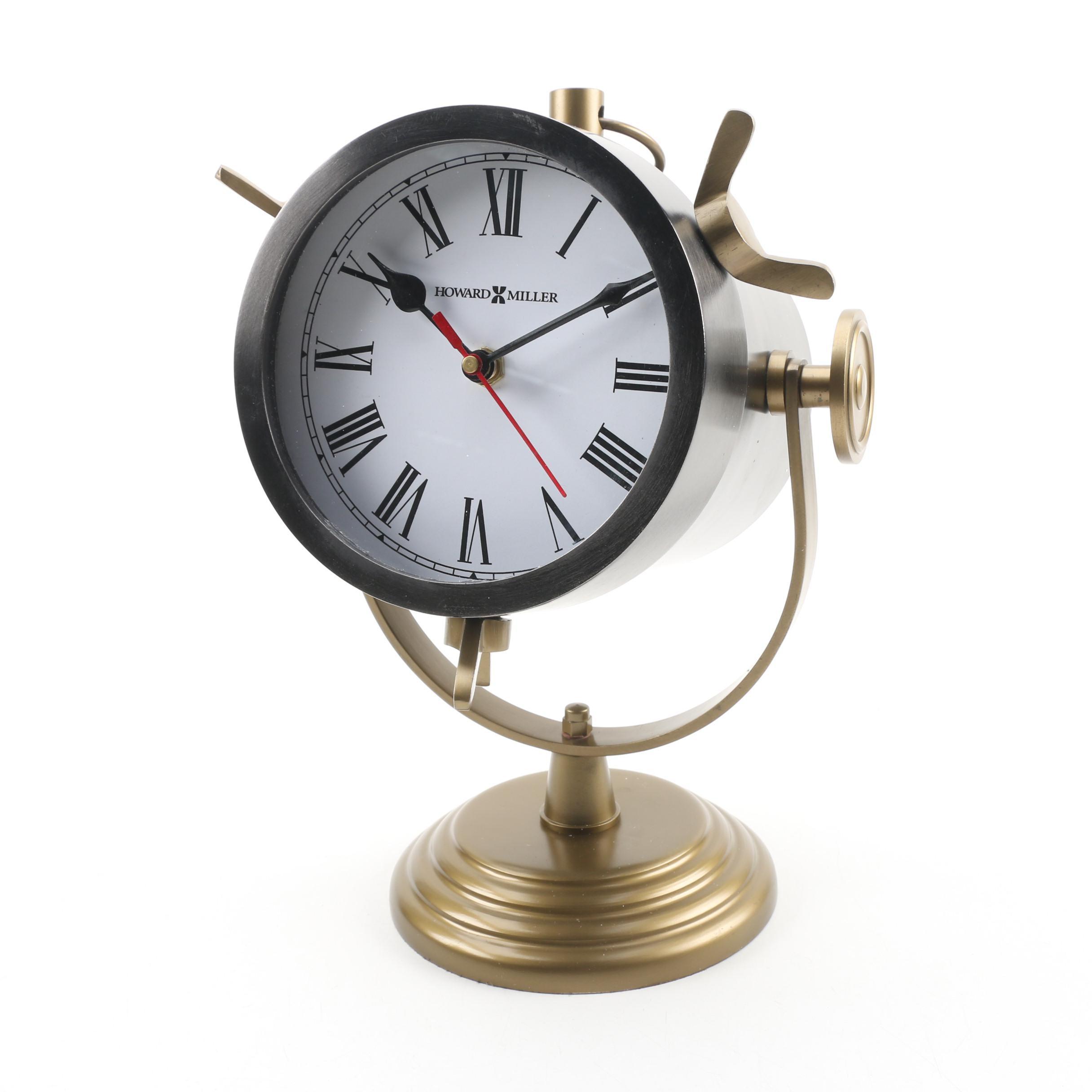 Howard Miller Vintage Spotlight Style Quartz Mantel Clock with Antiqued Finish