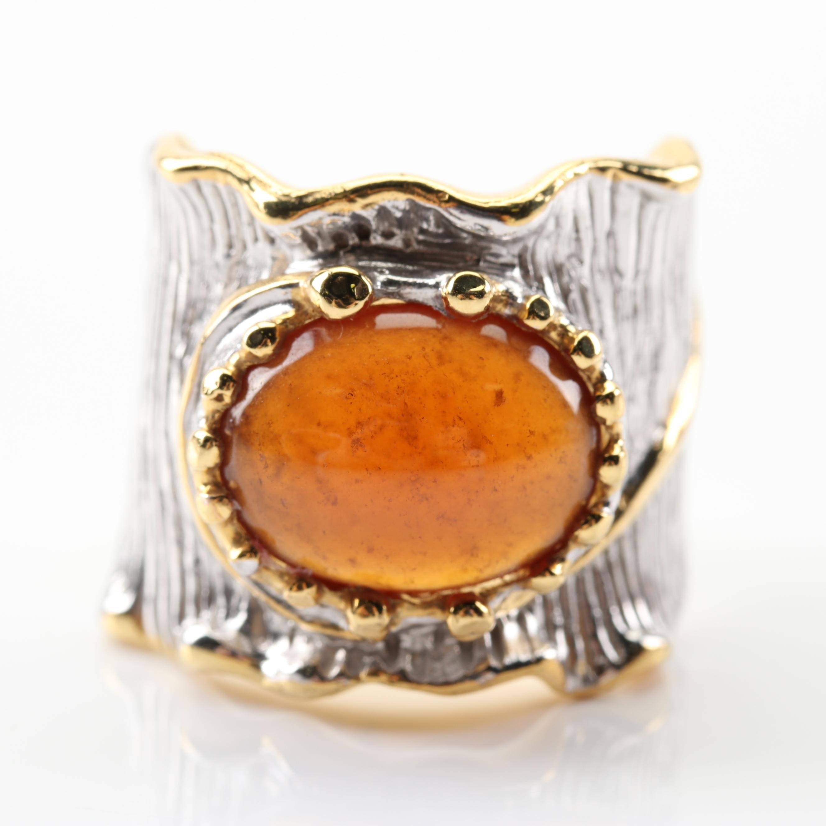 Sterling Silver 7.88 CT Garnet Ring With Gold Wash Accents