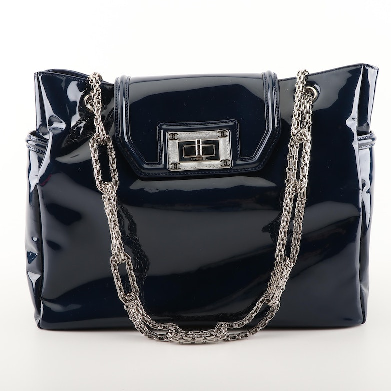 e9f7bf1de579 Chanel Navy Blue Patent Leather Shoulder Bag with Mademoiselle Turnlock    EBTH