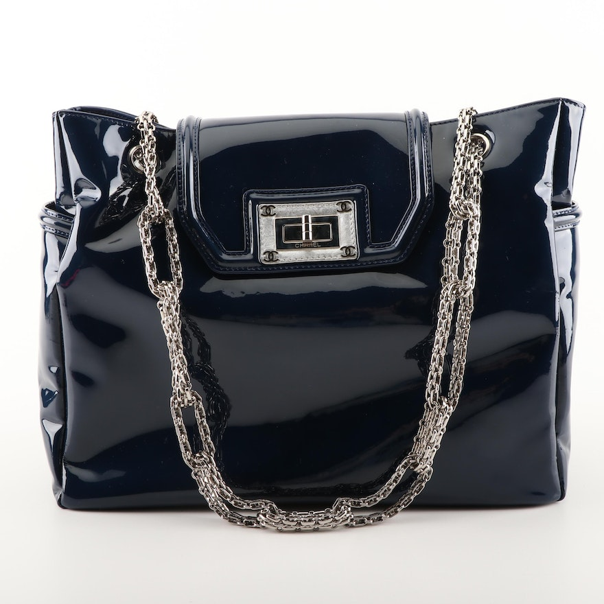 c8ac438c335c Chanel Navy Blue Patent Leather Shoulder Bag with Mademoiselle Turnlock :  EBTH