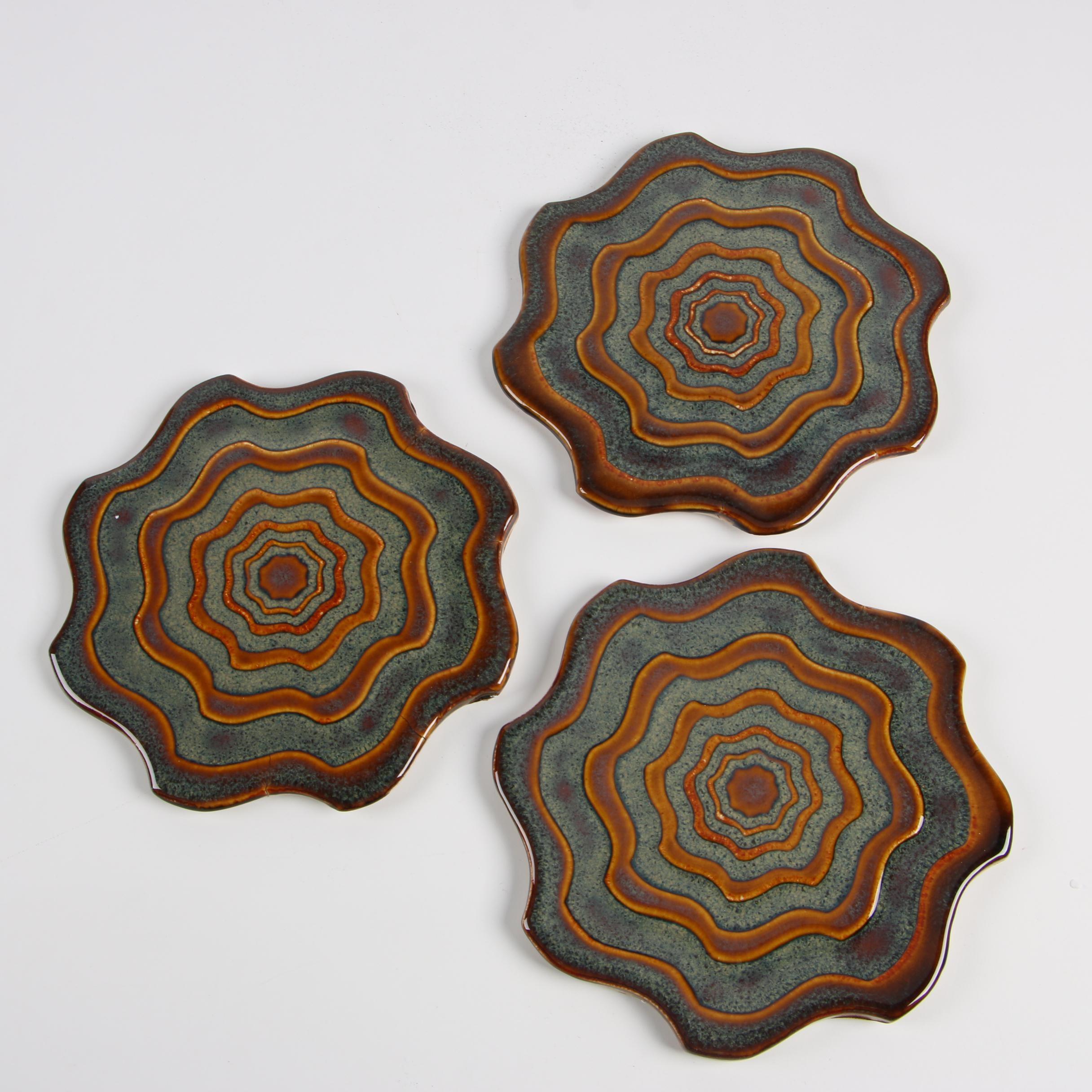 Rookwood Pottery Faïence Burnt Umber and Slate Blue Tile Trivets